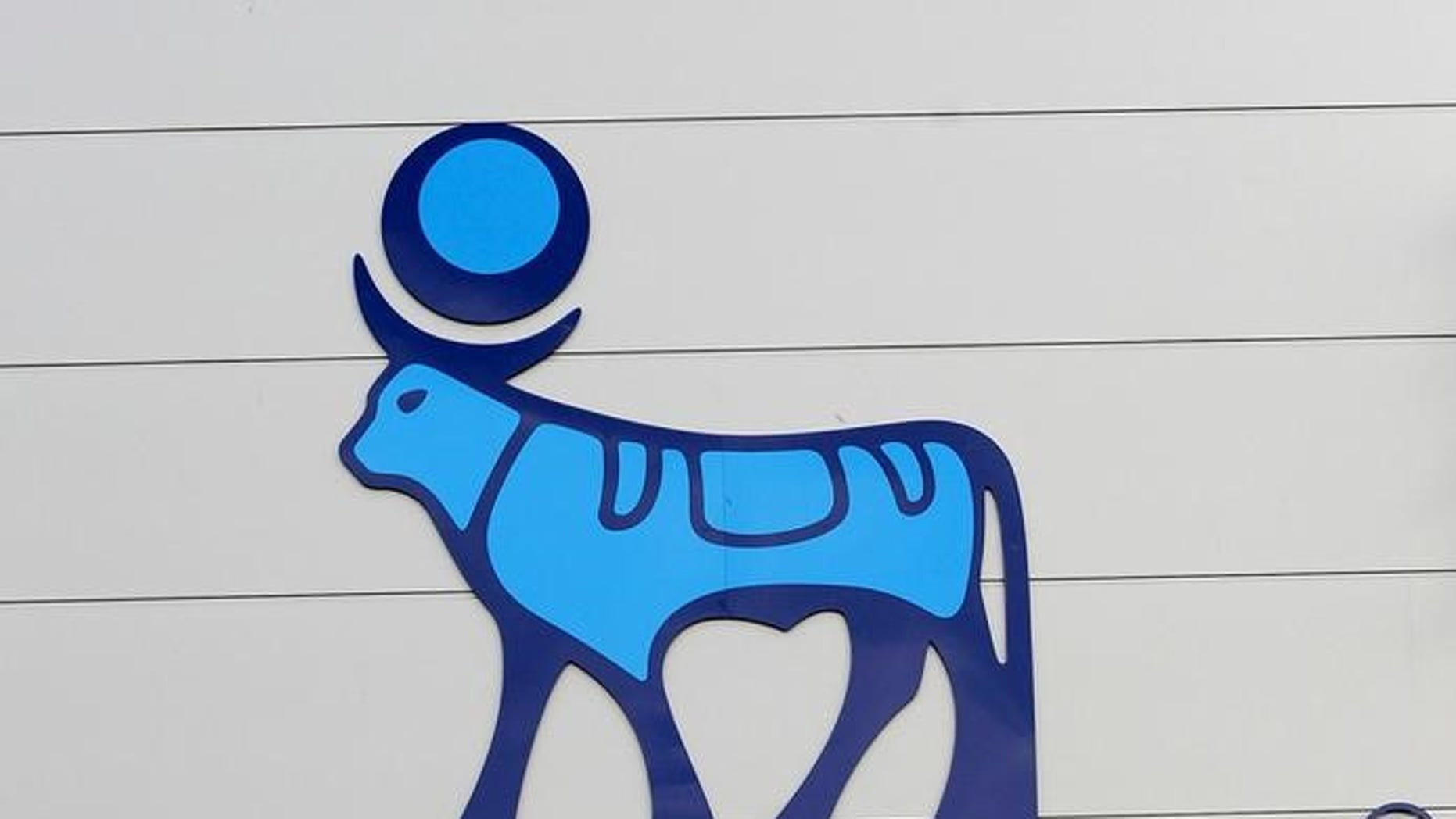 The logo of Danish multinational pharmaceutical company Novo Nordisk is pictured on the facade of a production plant in Chartres