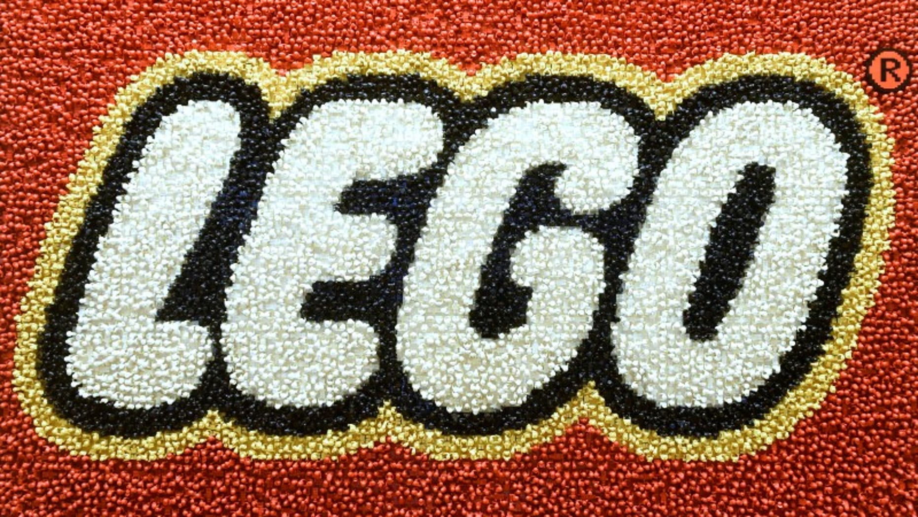A Lego logo adorns a wall at the headquarters of the Danish toy company during the annual news conference in Billund