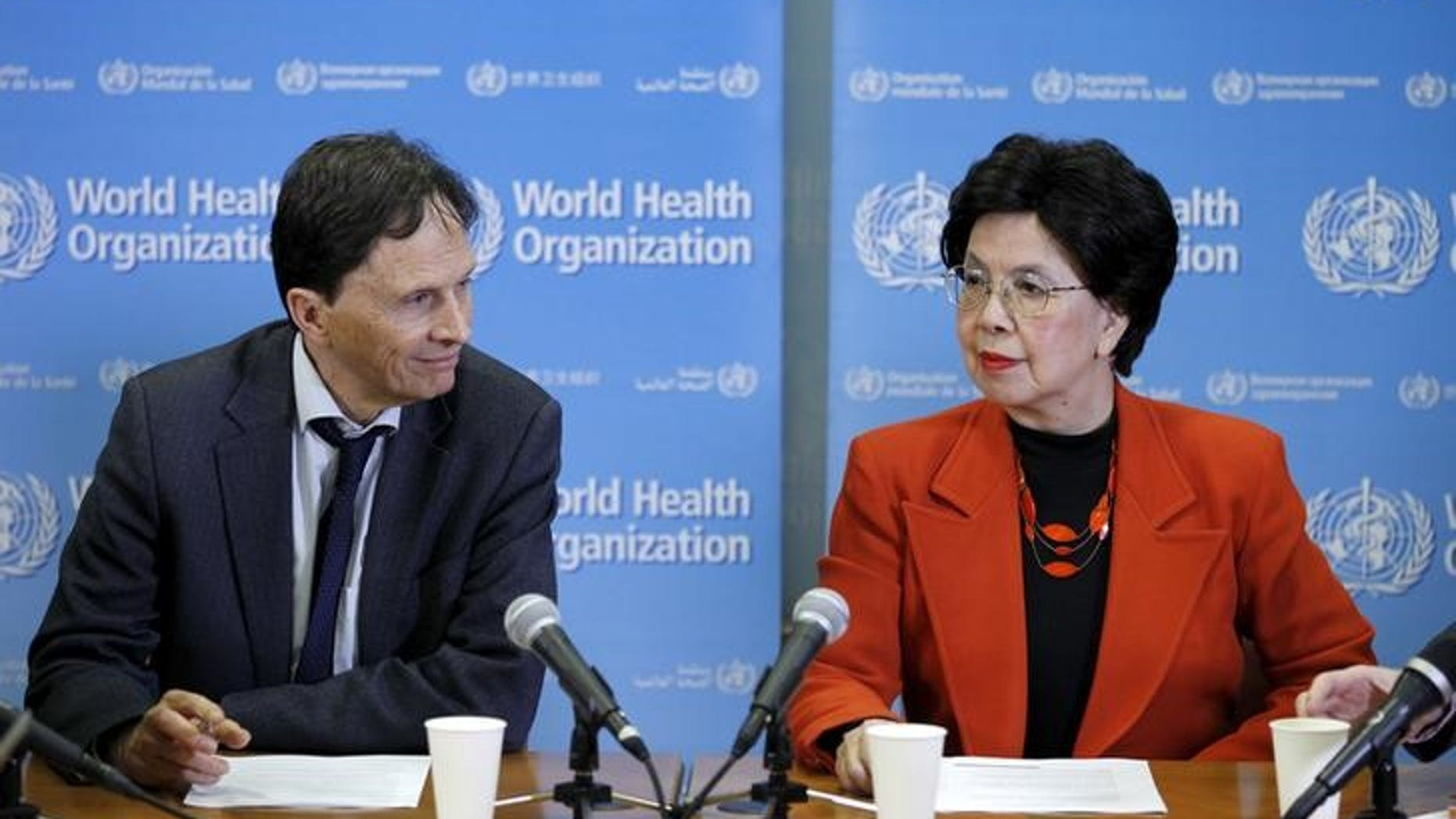 Professor Heymann, Chair of the Emergency Committee, and World Health Organization Director-General Chan hold a news conference on the Zika virus in Geneva
