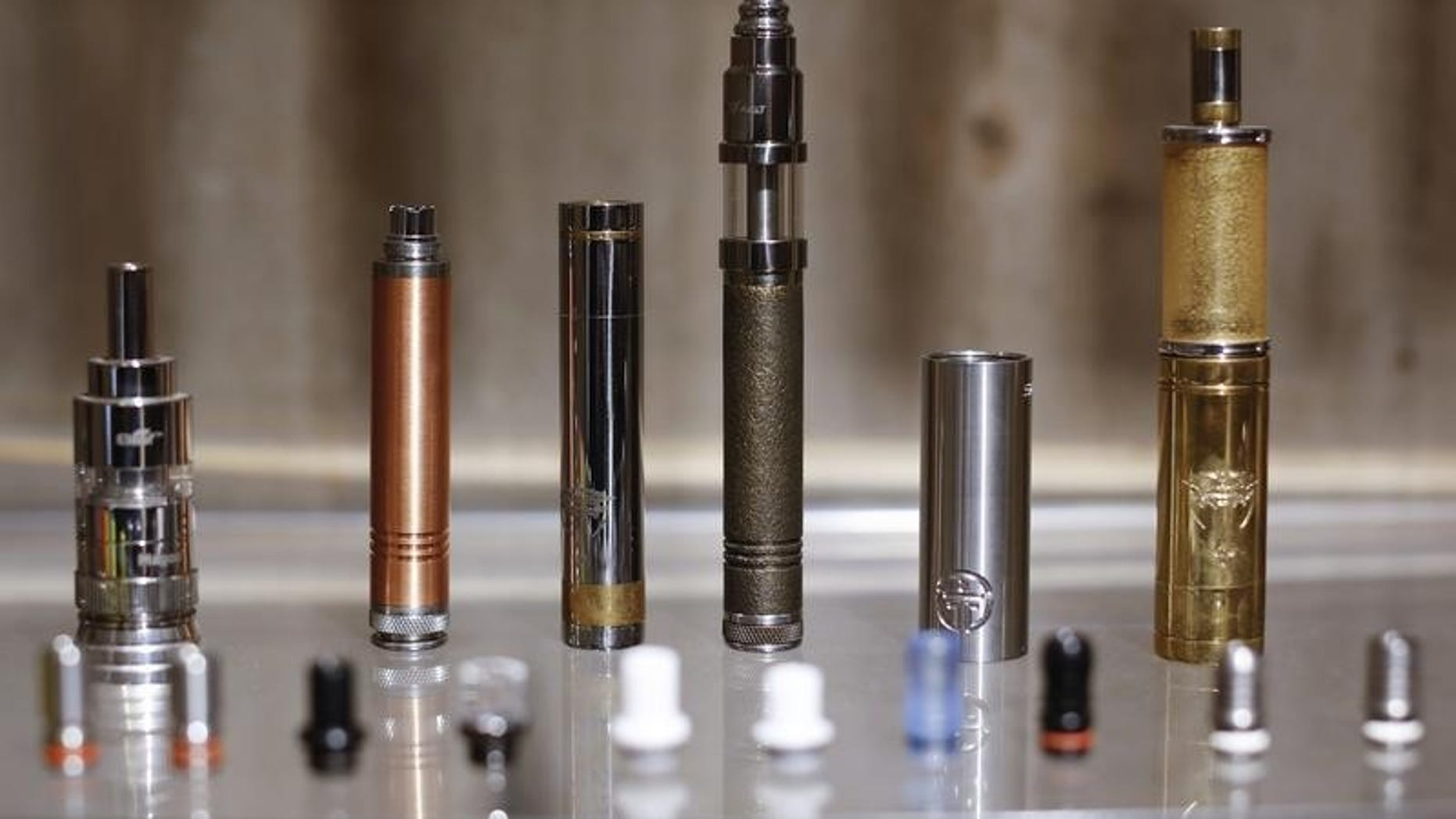 E-cigarettes are displayed in a shop in downtown Rome
