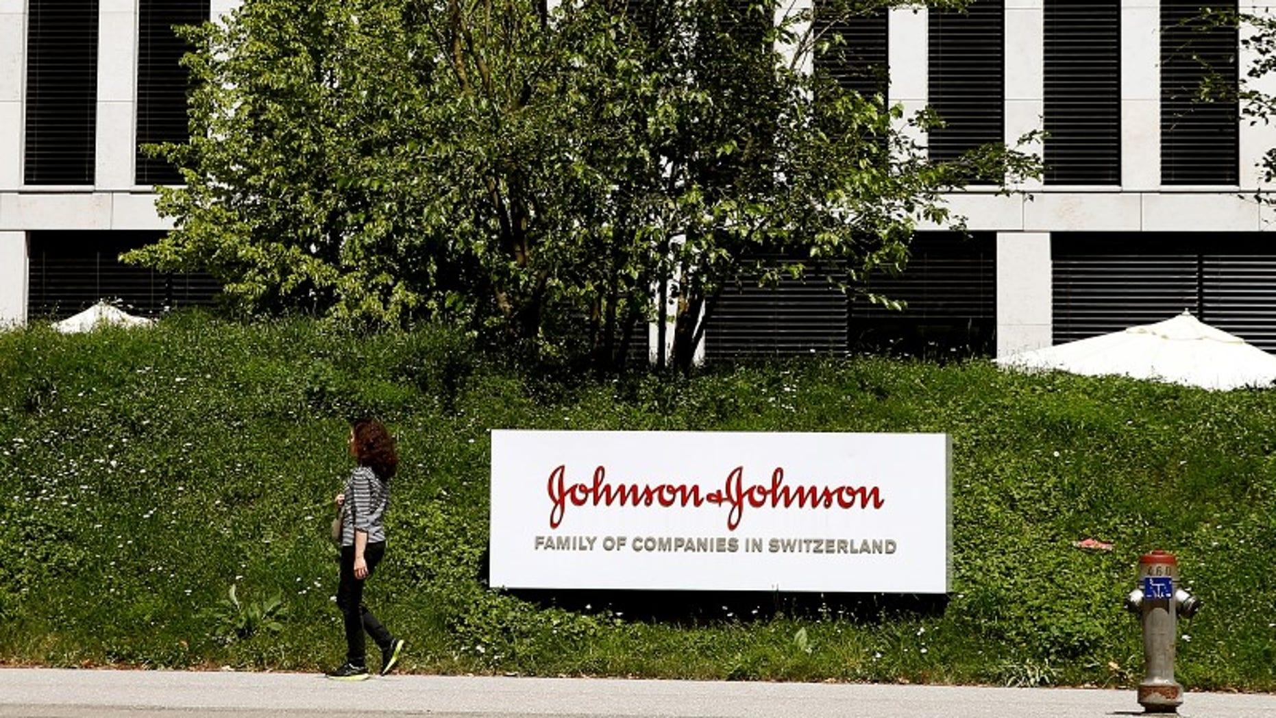 Logo of healthcare company Johnson & Johnson is seen in Zug