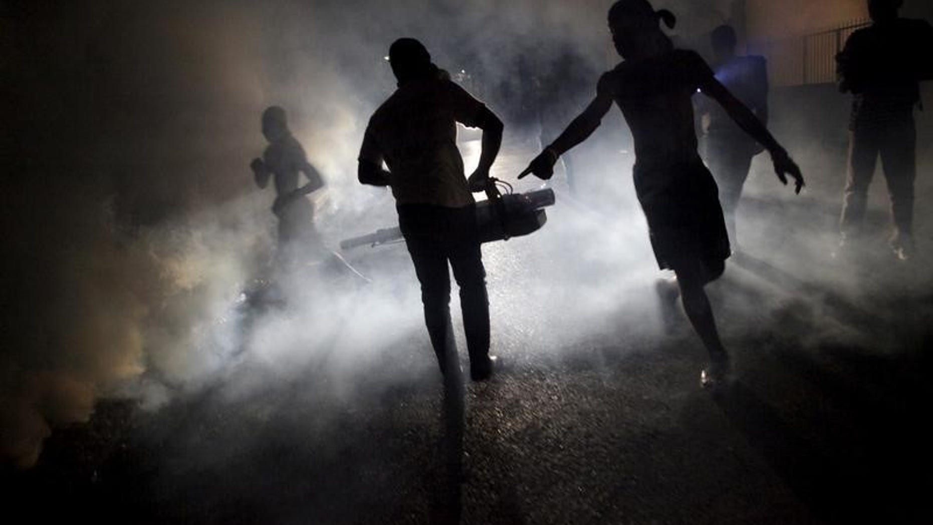 A worker of the Ministry of Public Health and Population fumigates in the street against mosquito breeding to prevent diseases such as malaria, dengue and Zika, during a fumigation campaign in Port-au-Prince, Haiti