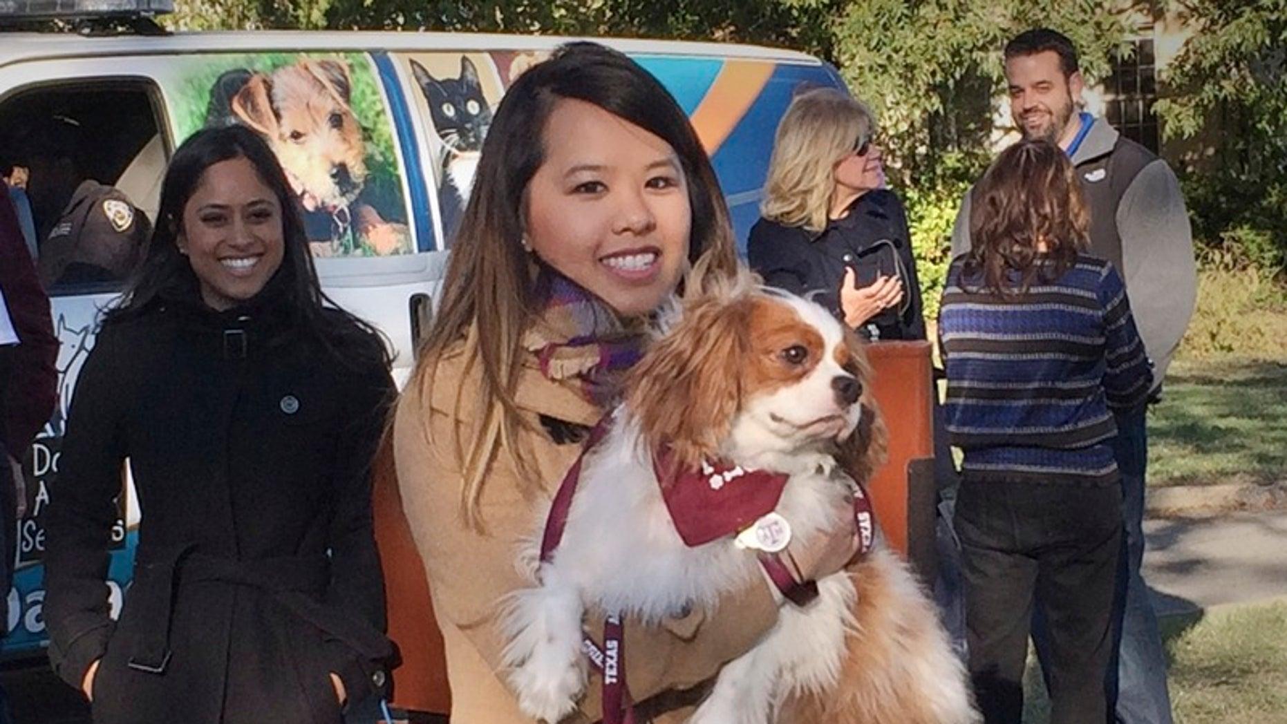 Ebola survivor Nina Pham is reunited with her dog Bentley in Dallas