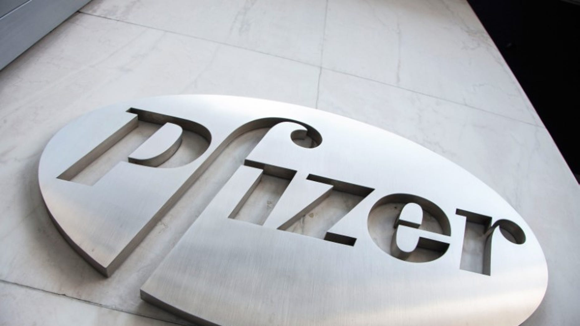 The Pfizer logo is seen at their world headquarters in New York