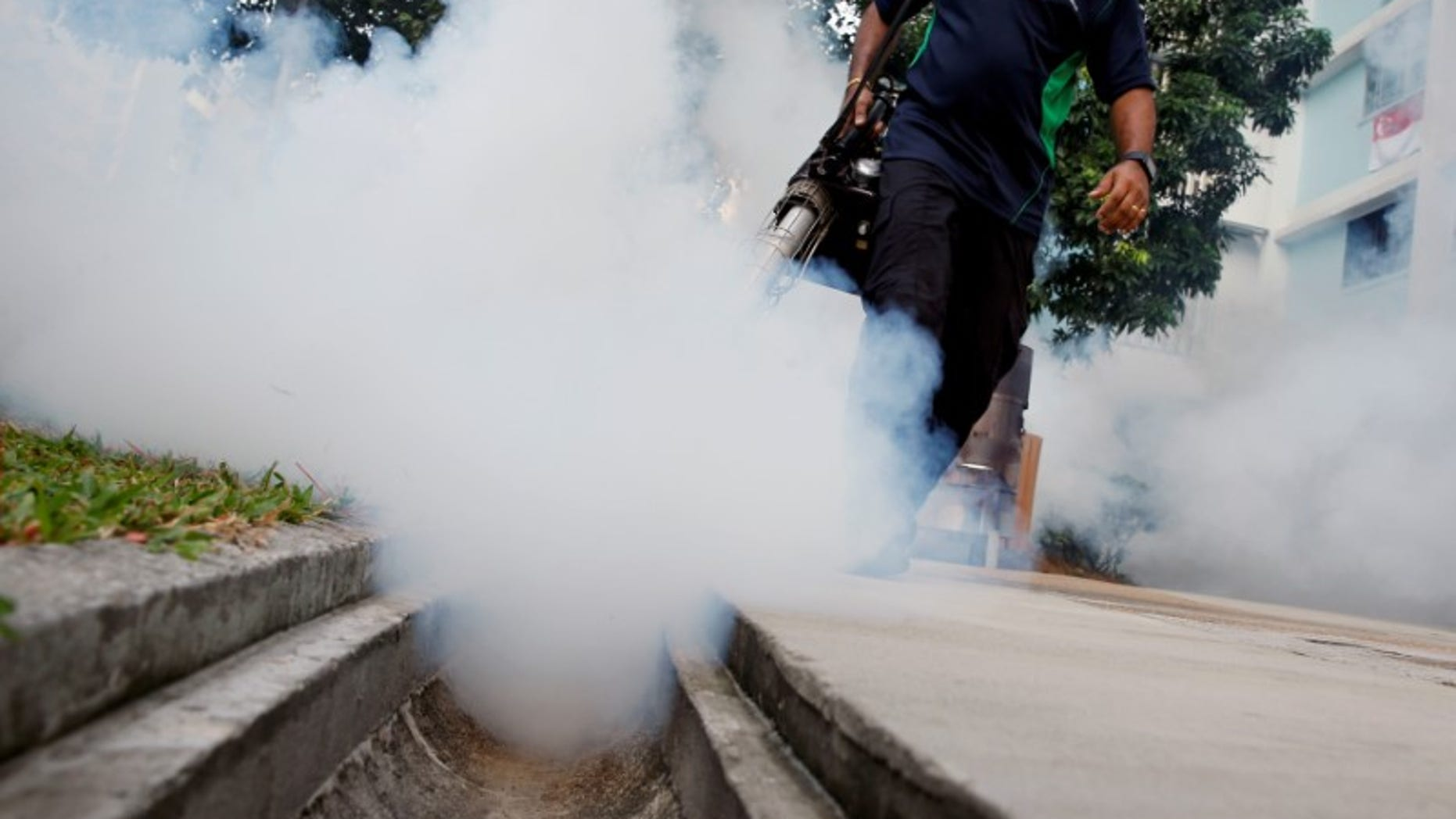 File picture of a worker fogging the common area of a public housing estate at a new Zika cluster in Singapore