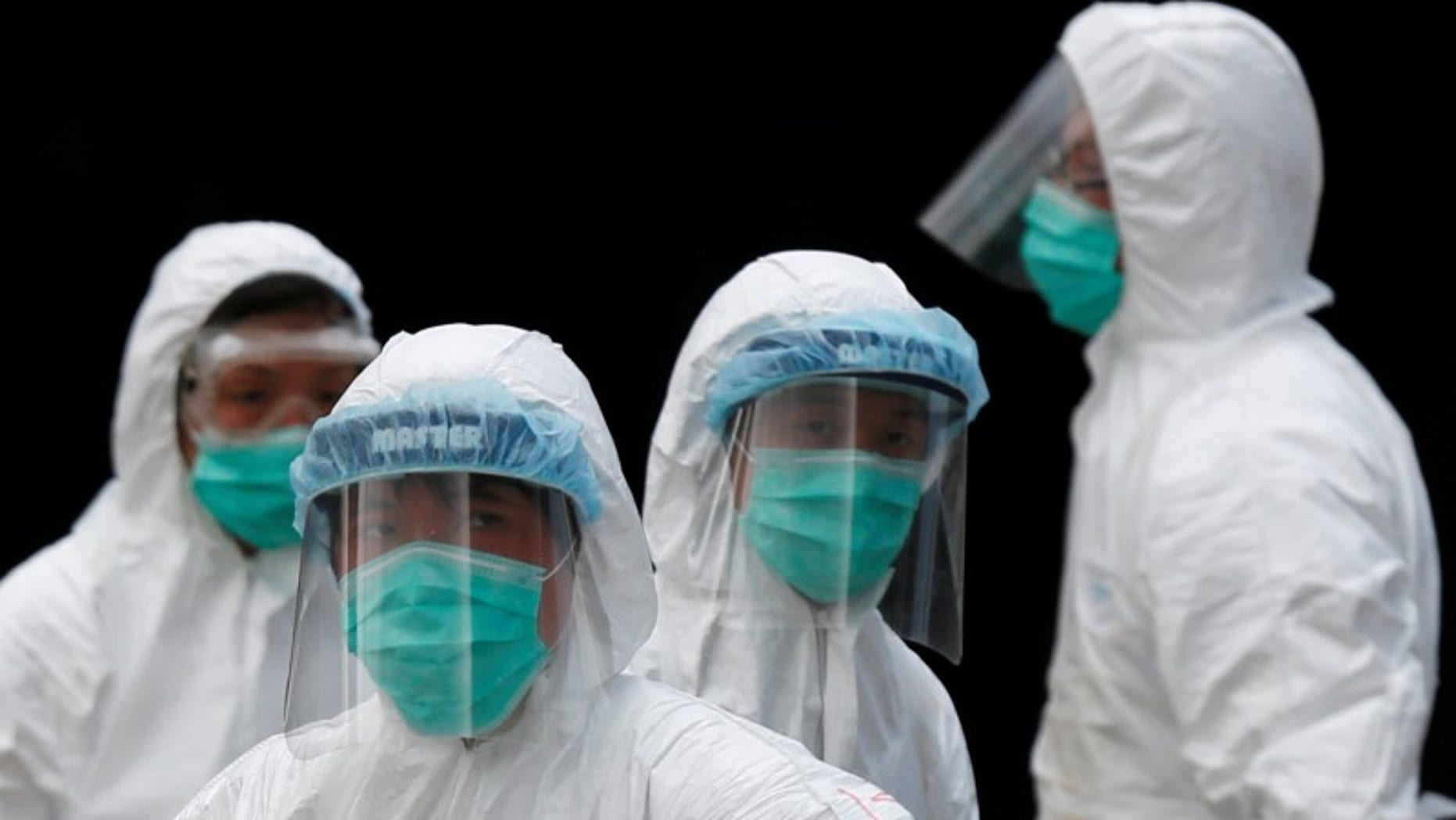 Health officers in protective clothing cull poultry at a wholesale market in Hong Kong