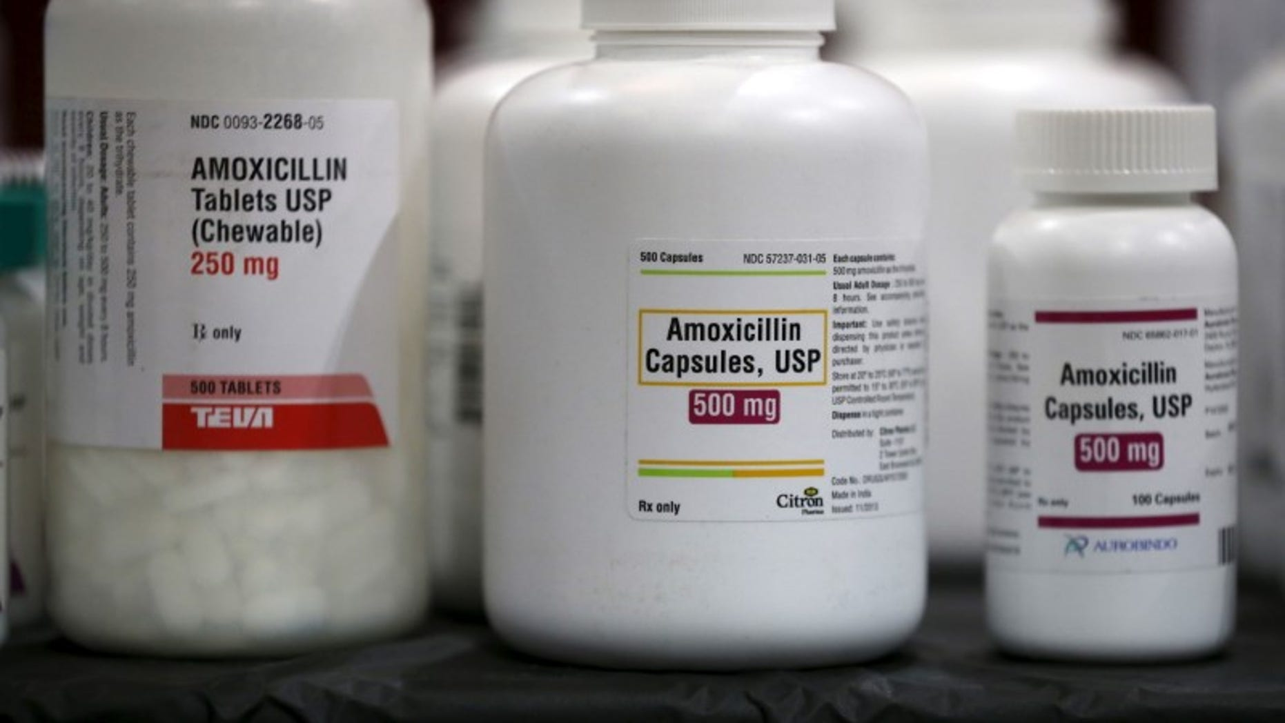 Amoxicillin penicillin antibiotics are seen in the pharmacy at a free medical and dental health clinic in Los Angeles
