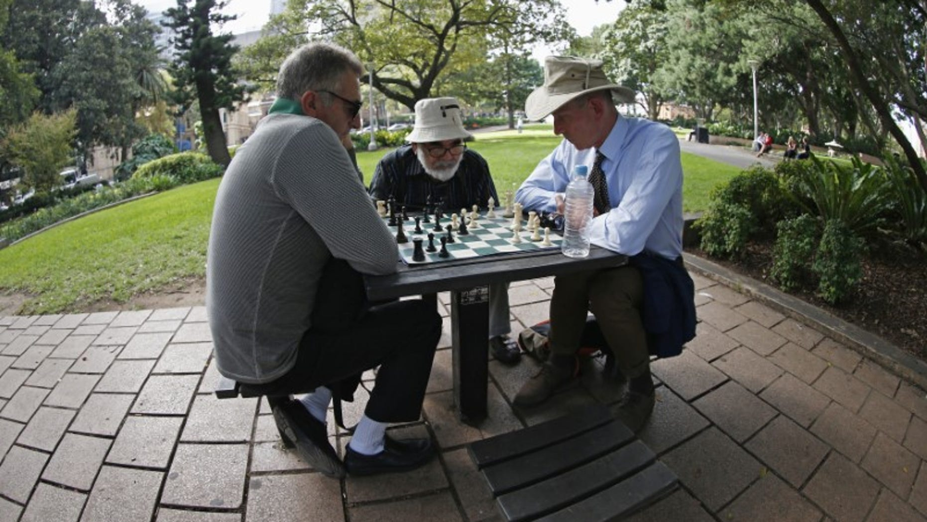 Men play chess at Hyde Park in central Sydney