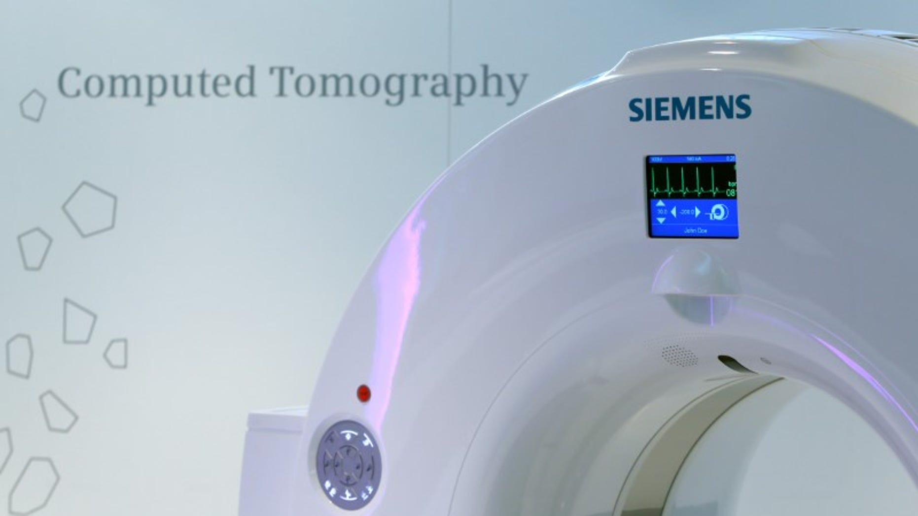 Siemens logo is pictured on a CT scan in manufacturing plant of Siemens Healthineers in Forchheim