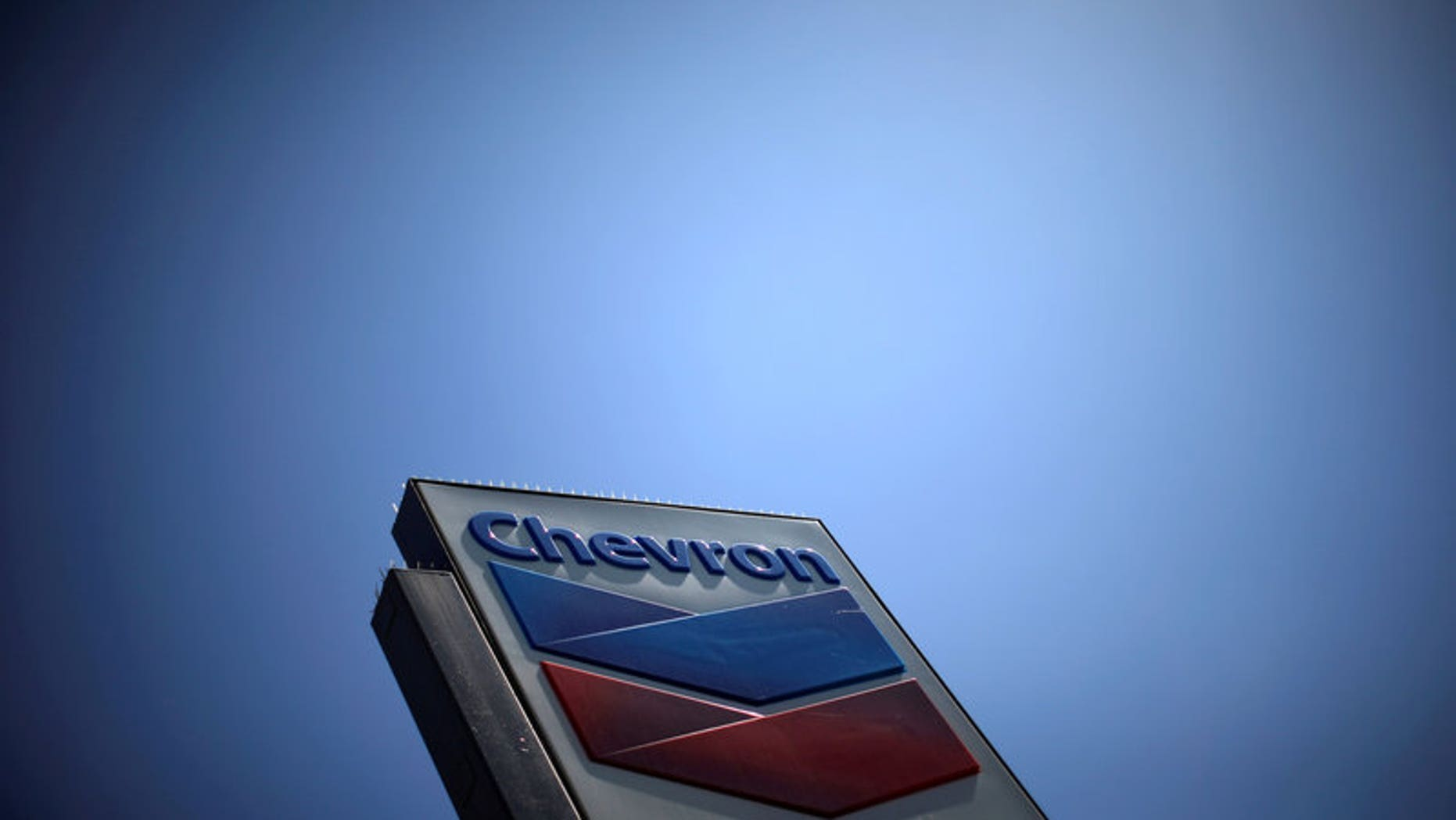 The logo of Chevron (CVX) is seen in Los Angeles, California, United States, April 12, 2016.