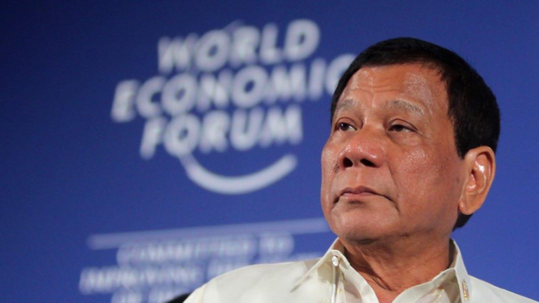 Philippine President Rodrigo Duterte attends the World Economic Forum on ASEAN in Phnom Penh