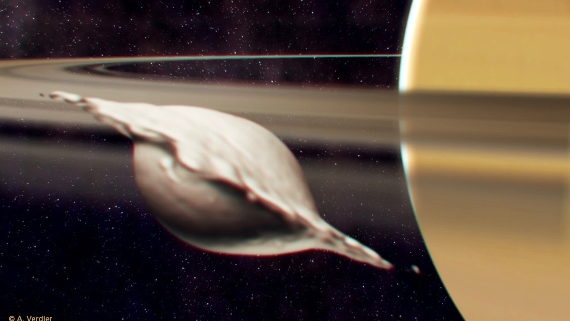 Saturn's moon Atlas got its flat, ravioli-like shape from the merging collision of two similar-size bodies, according to new research. Here, Atlas is shown mid-collision.