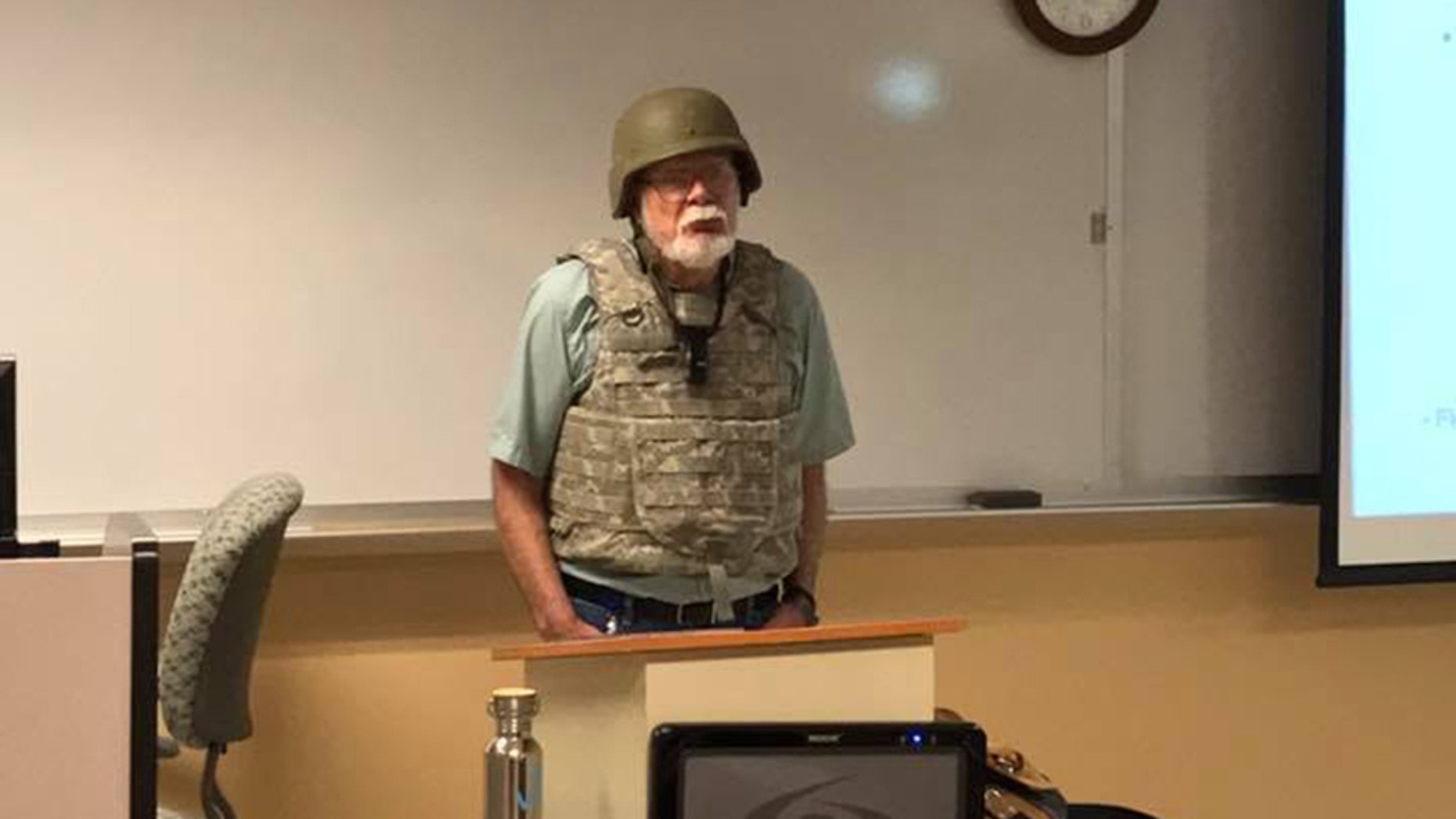 Professor Charles K. Smith of San Antonio College wore full combat gear to protest Texas' campus carry law.