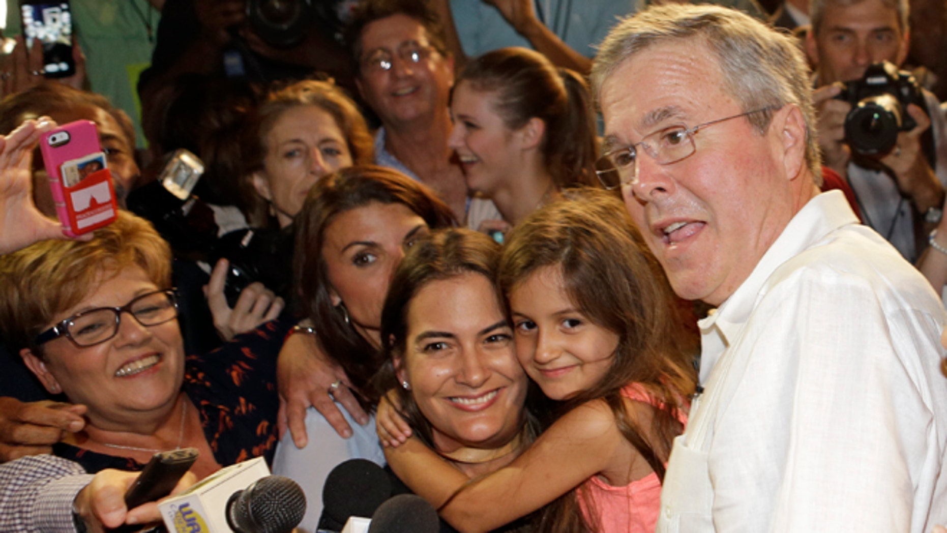 Former Florida Gov. Jeb Bush poses with supporters for photos during a fundraiser, Monday, May 18, 2015, in Sweetwater, Fla. (AP Photo/Alan Diaz)