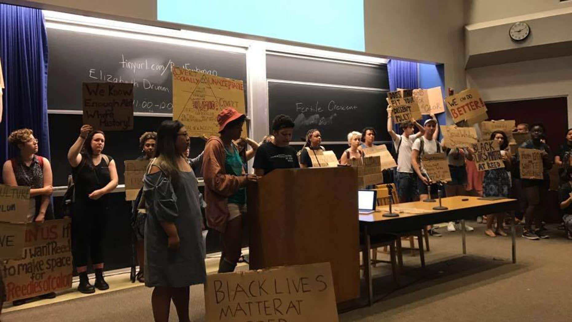 """Reed College protesters shut down a """"Eurocentric"""" humanities lecture on Aug. 28, 2017."""