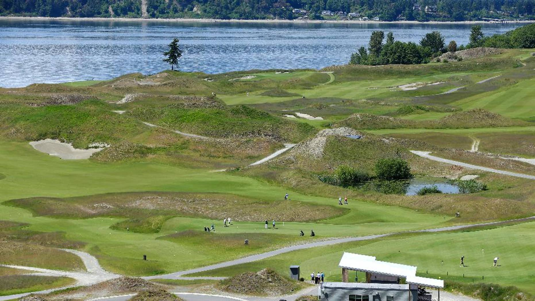 FILE - In this May 20, 2014, file photo, the Chambers Bay Golf Course, including the signature lone tree, is seen from the clubhouse in University Place, Wash. The U.S. Open comes to Chambers Bay in seven weeks, the first time the major is played in the Pacific Northwest.  (AP Photo/Ted S. Warren, File)