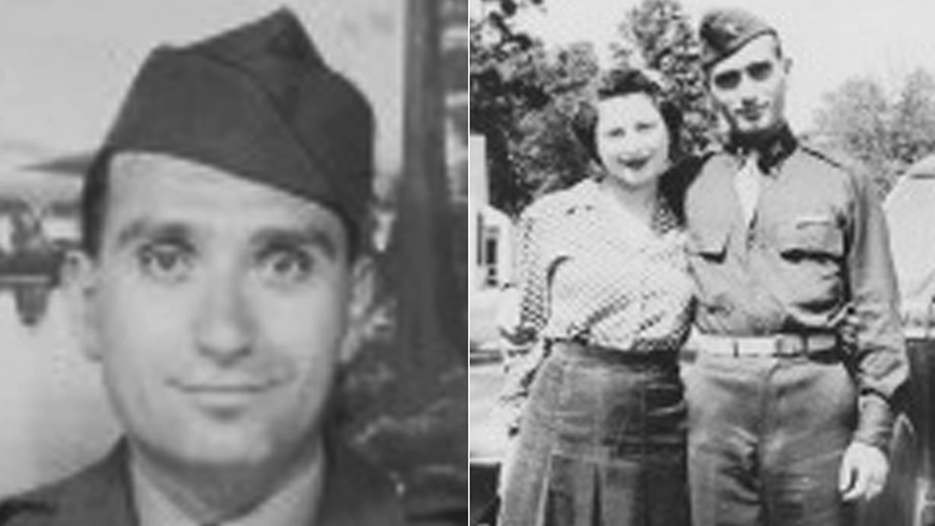 These undated images provided by Hyla Merin show 2nd Lt. Hyman Markel and his bride, Celia Markel.