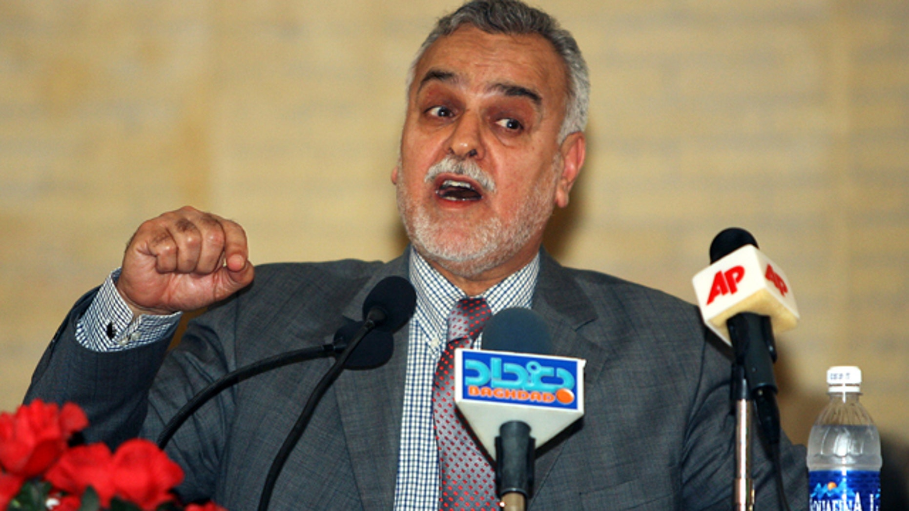 FILE 2006: Iraq's vice President Tariq al-Hashemi speaks to reporters during a news conference in Baghdad.