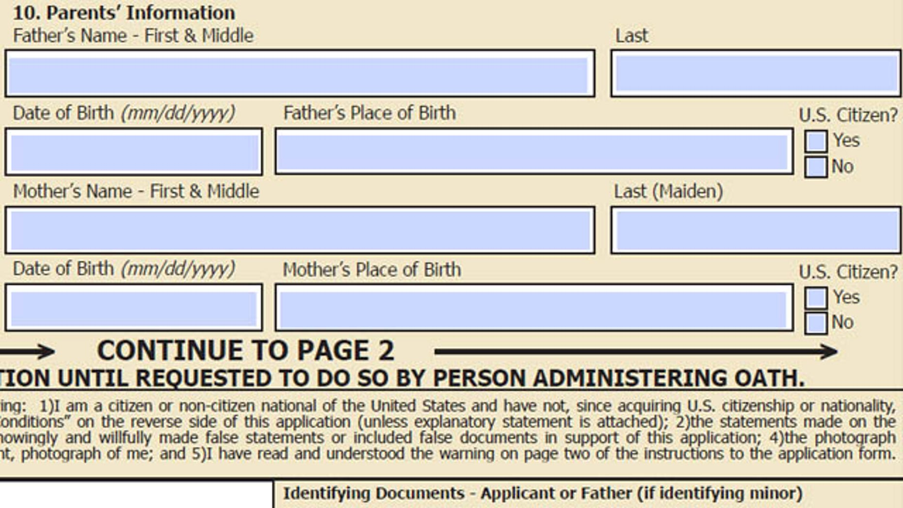 "Section of current passport application asking for ""father"" and ""mother"" information."