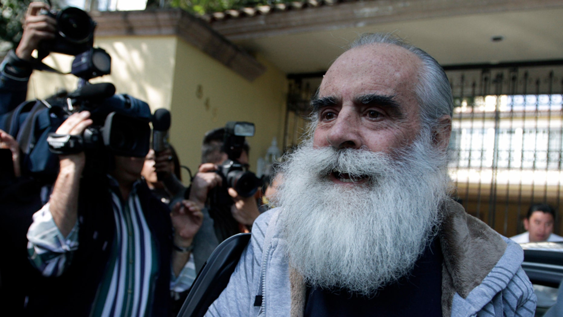 Former presidential candidate Diego Fernandez de Cevallos arrives at his home in Mexico City, Monday, Dec. 20, 2010. Fernandez de Cevallos, who had been missing since May 15, said that he is well, he thanks God and he has forgiven his kidnappers. (AP Photo/Claudio Cruz)