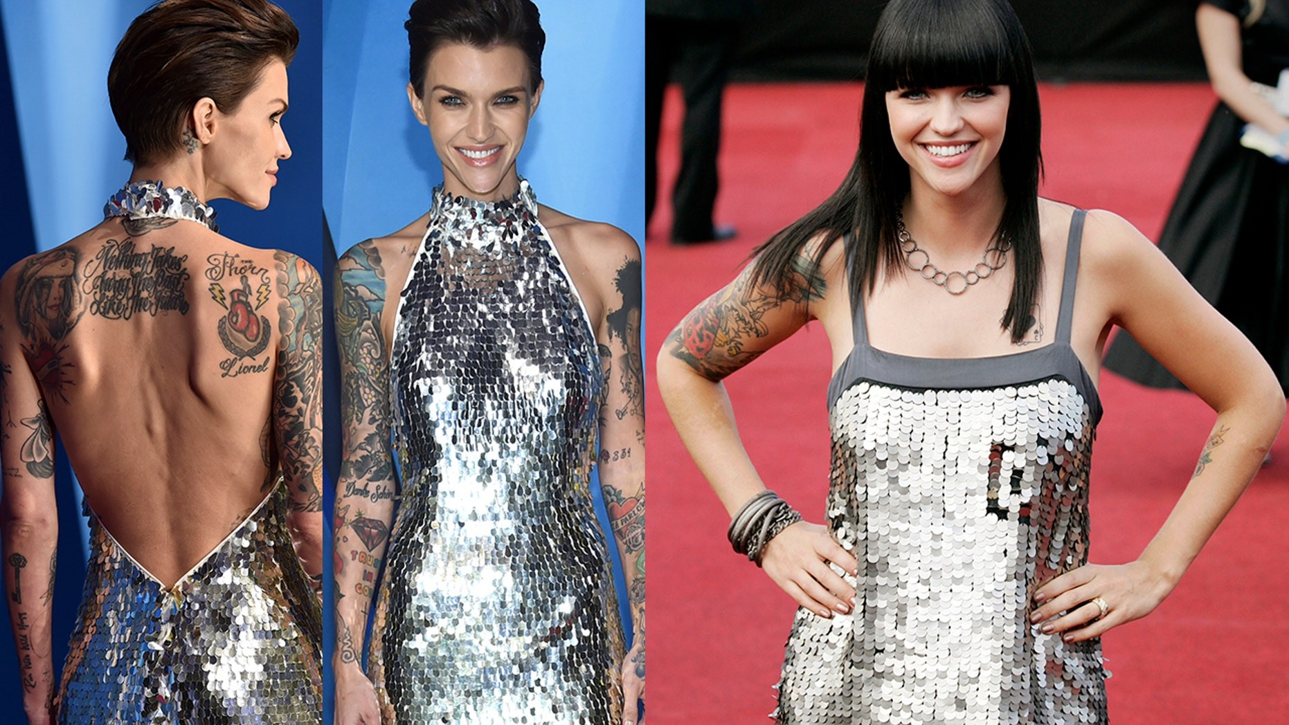 """""""Orange is the New Black"""" actress Ruby Rose turned heads on the CMAs red carpet (left) for all the wrong reasons. TheAustralian-born star looked very frail and thin at the awards show compared to her healthier figure in 2008 (right)."""