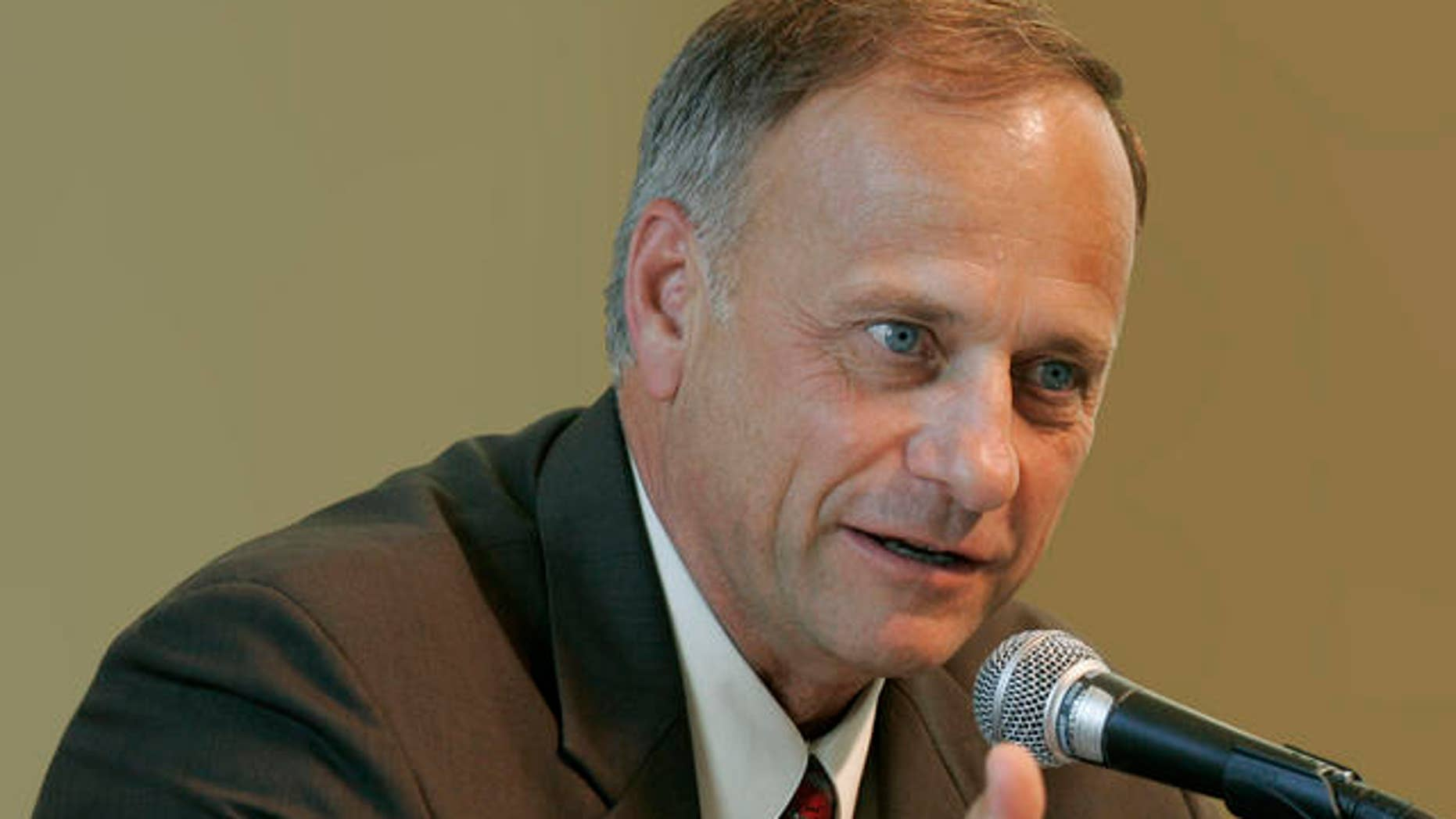 U.S. Rep. Steve King, R-Iowa, speaks during a farm bill congressional field hearing, Monday, July 31, 2006, at Dordt College in Sioux Center, Iowa.  King doesn't shy from controversy, and his views have paid off with praise from conservatives _ and disdain from critics. In his rural, western Iowa congressional district, King remains a popular two-term congressman. (AP Photo/Charlie Neibergall)