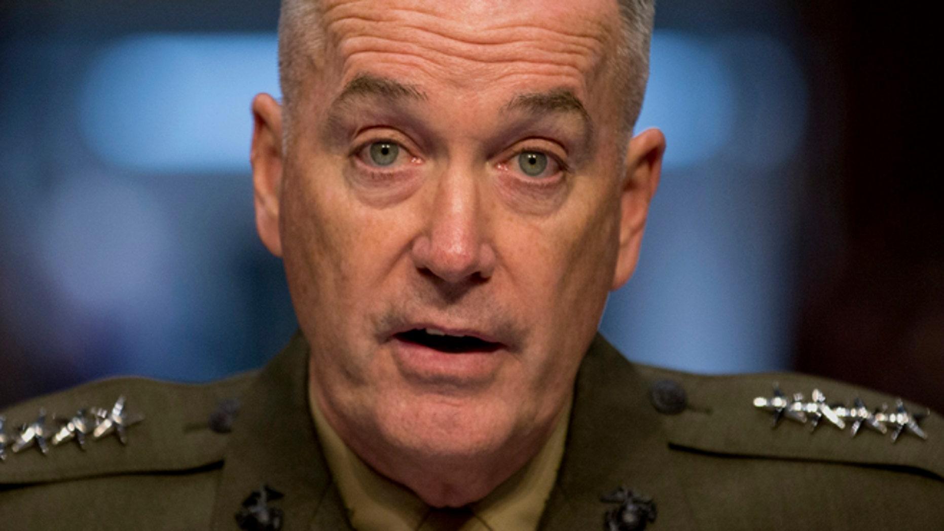 March 12, 2014: File photo, Gen. Joseph F. Dunford, Jr. testifies on Capitol Hill in Washington.