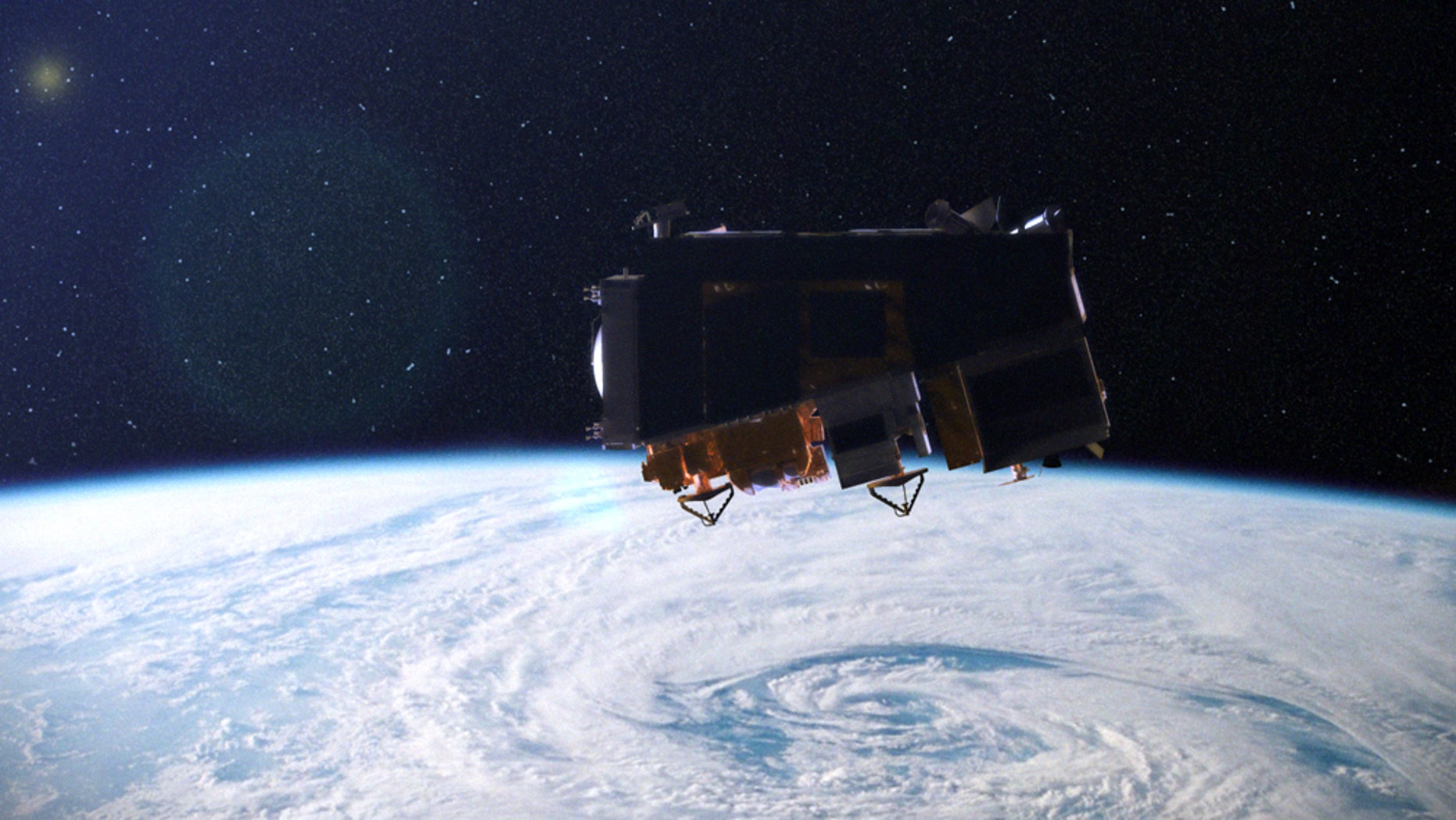 An artist's conception of NASA's NPP climate and weather satellite in orbit.