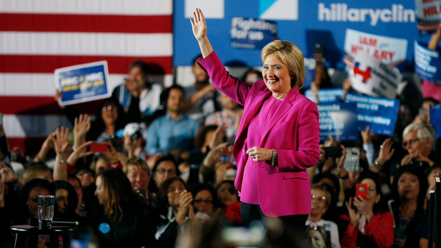 Democratic candidate Hillary Clinton speaks at a rally Thursday, Feb. 18, 2016, in Las Vegas.