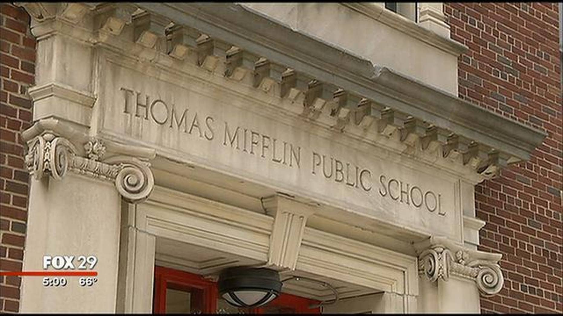 October 8, 2013: The front of the Thomas Mifflin School in Philadelphia, where police say a 4-year-old brought 8 bags of crack cocaine to class Monday morning (MyFoxPhilly.com)