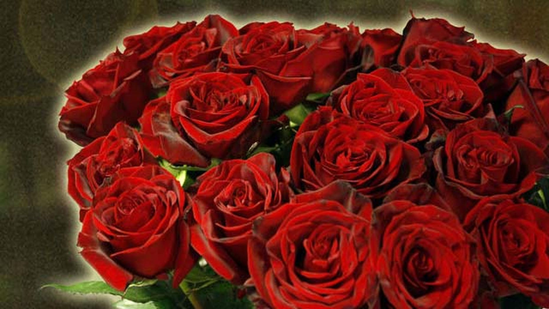 Ein Strauss Rosen stehen am Donnerstag, 14. Februar 2008, im Geschaeft Blumen 31 im Bleibtreu in Berlin. Am Valentinstag sind gerade Rosen sehr gefragt. (AP Photo/Franka Bruns)---A bouquet of roses is on display in a flower shop in Berlin, Thursday, Feb. 14, 2008. Especially on Valentine's Day, the rose is the favorite flower to pick. (AP Photo/Franka Bruns)