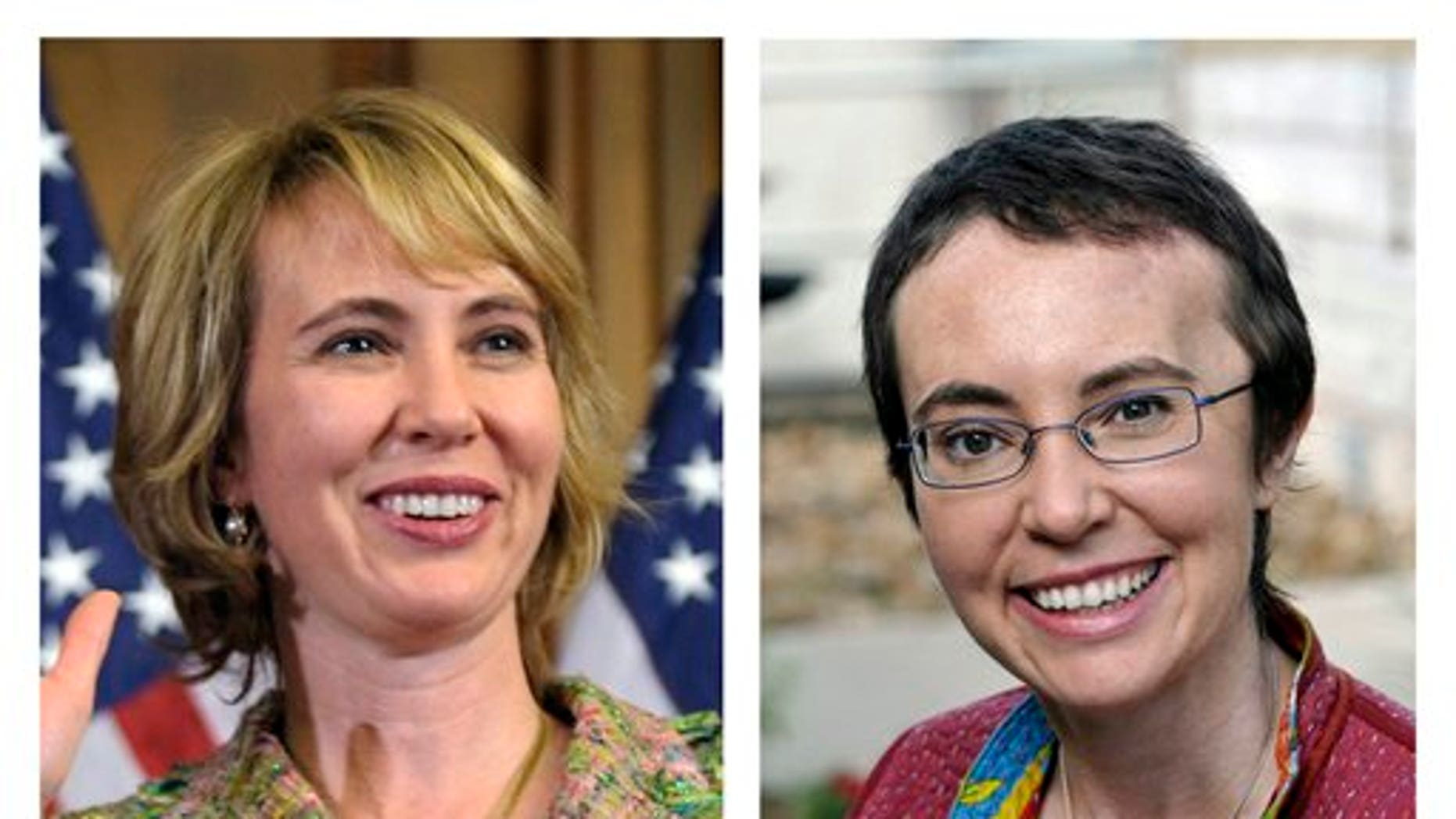 This photo combo shows U.S. Rep. Gabrielle Giffords, D-Ariz. At left, Giffords takes part in a reenactment of her swearing-in on Capitol Hill in Washington, on Jan. 5, 2011, three days before she was shot as she met with constituents in Tucson, Ariz. At right, Giffords is seen May 17, 2011, at TIRR Memorial Hermann Hospital in Houston, the day after the launch of space shuttle Endeavour and the day before she had her cranioplasty. (AP/Susan Walsh/P.K. Weis)