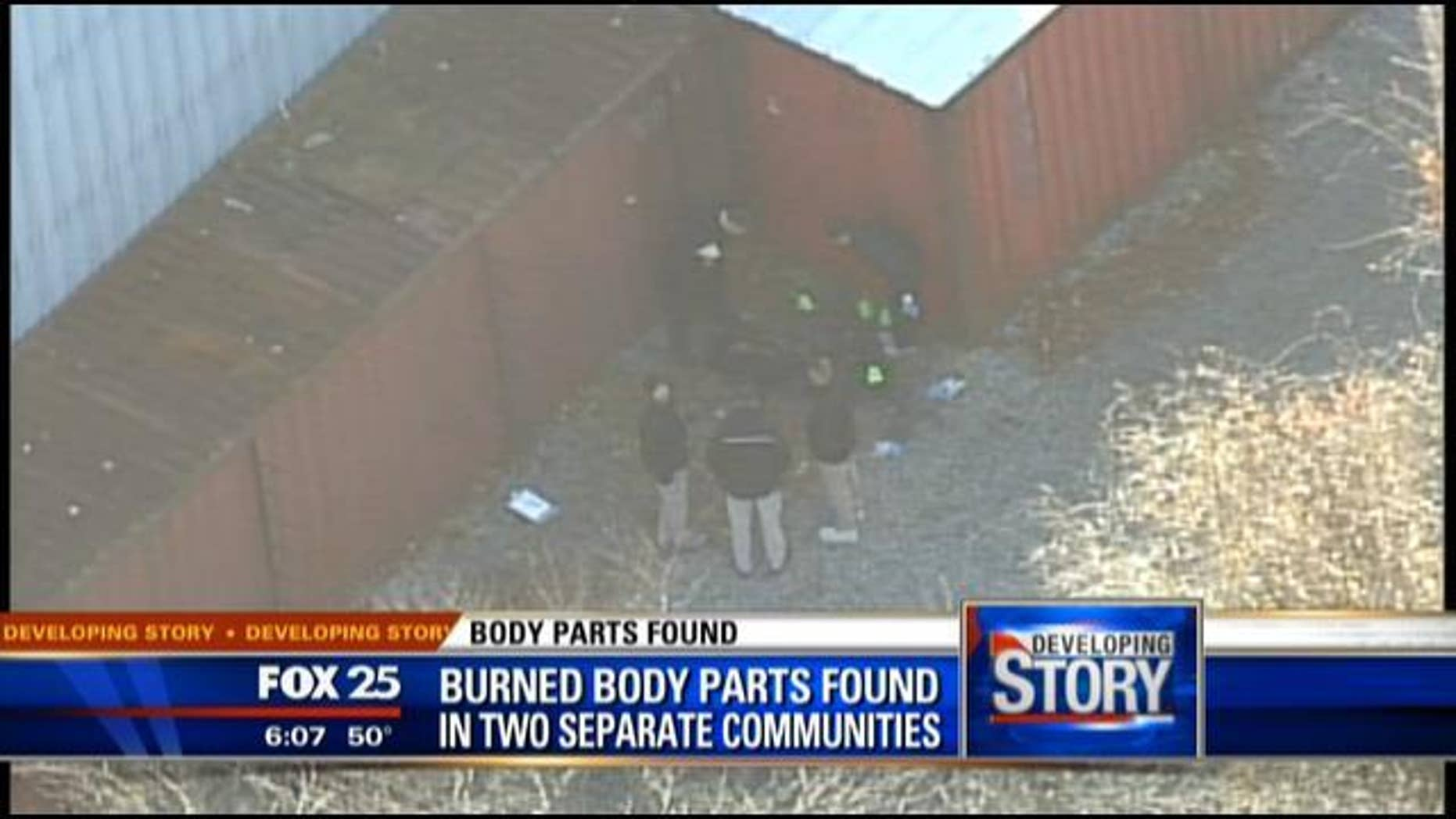 Investigators surround one of two sites where burned body parts were found in Massachusetts last week. The family of 24-year-old Dennis Ray Jackson believe the remains are his, and a 25-year-old aspiring rapper is under investigation (MyFoxBoston.com)