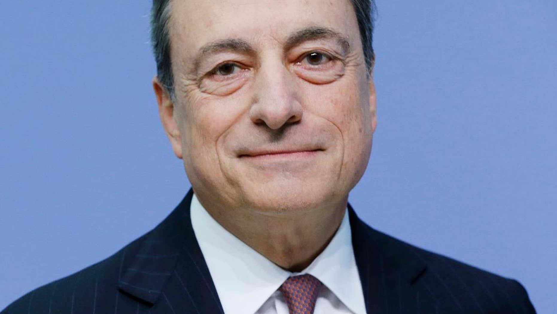 President of European Central Bank Mario Draghi poses prior to a news conference in Frankfurt, Germany, Thursday, Sept. 8, 2016, following a meeting of the ECB governing council. (AP Photo/Michael Probst)