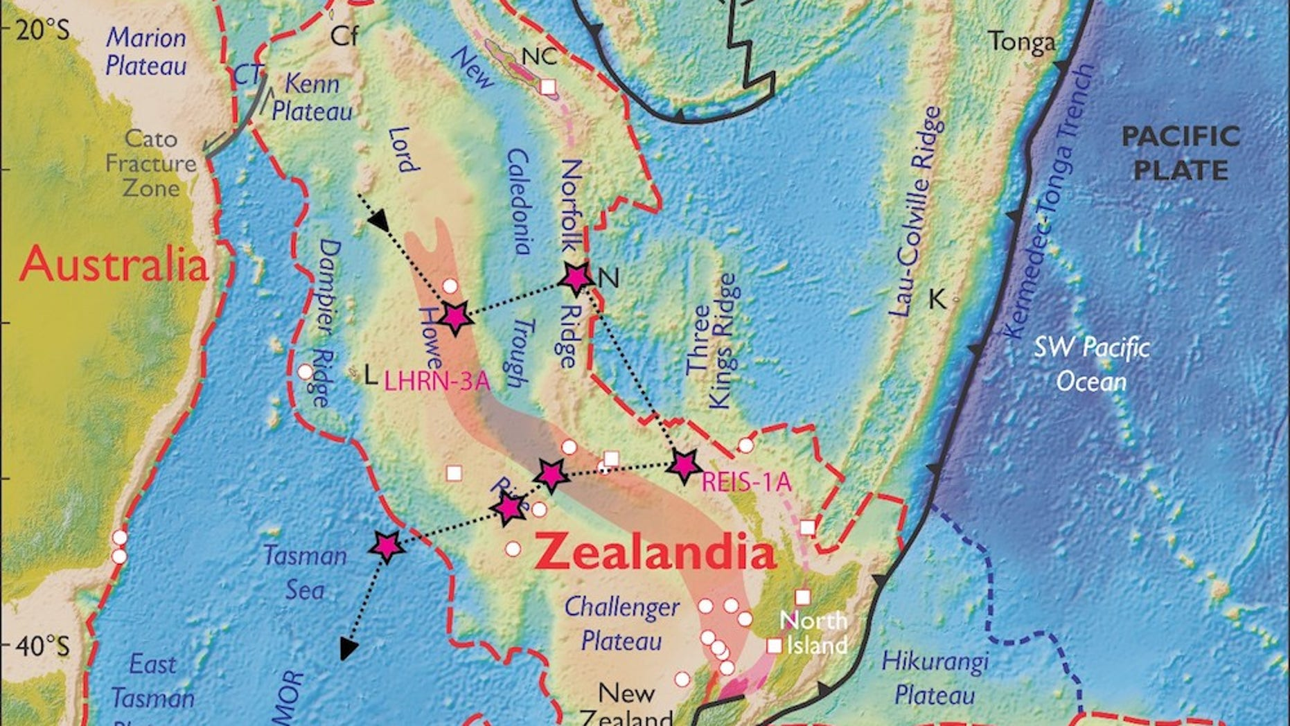 A map of Zealandia. Scientists aboard the Joides Resolution will visit six sites on this lost continent to take core samples later this summer.