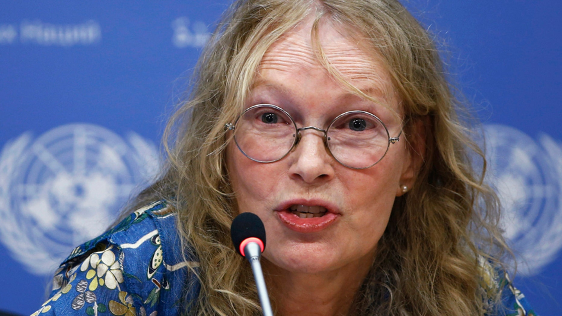 U.S. actress and UNICEF Goodwill Ambassador Mia Farrow speaks to the media about her visit to the Central African Republic at the United Nations headquarters in New York, July 22, 2014.