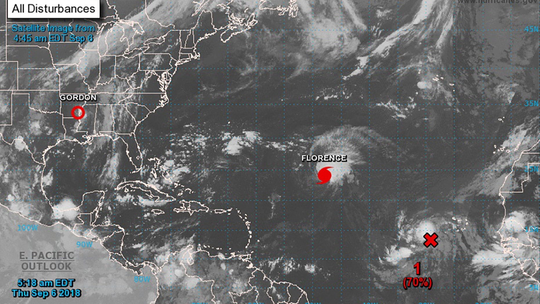This satellite image shows Hurricane Florence in the North Atlantic Ocean Thursday morning.