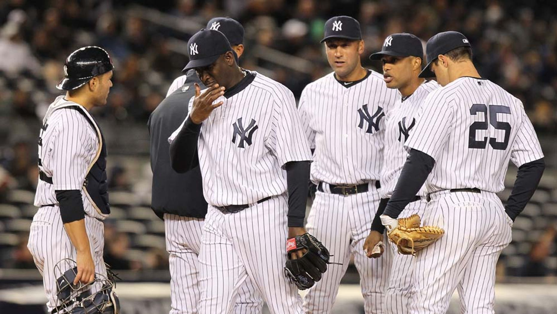 NEW YORK, NY - APRIL 05:  Rafael Soriano #29 of the New York Yankees is pulled from the game in the eighth inning after loading the bases against the Minnesota Twins at Yankee Stadium on April 5, 2011 in the Bronx borough of New York City.  (Photo by Nick Laham/Getty Images)