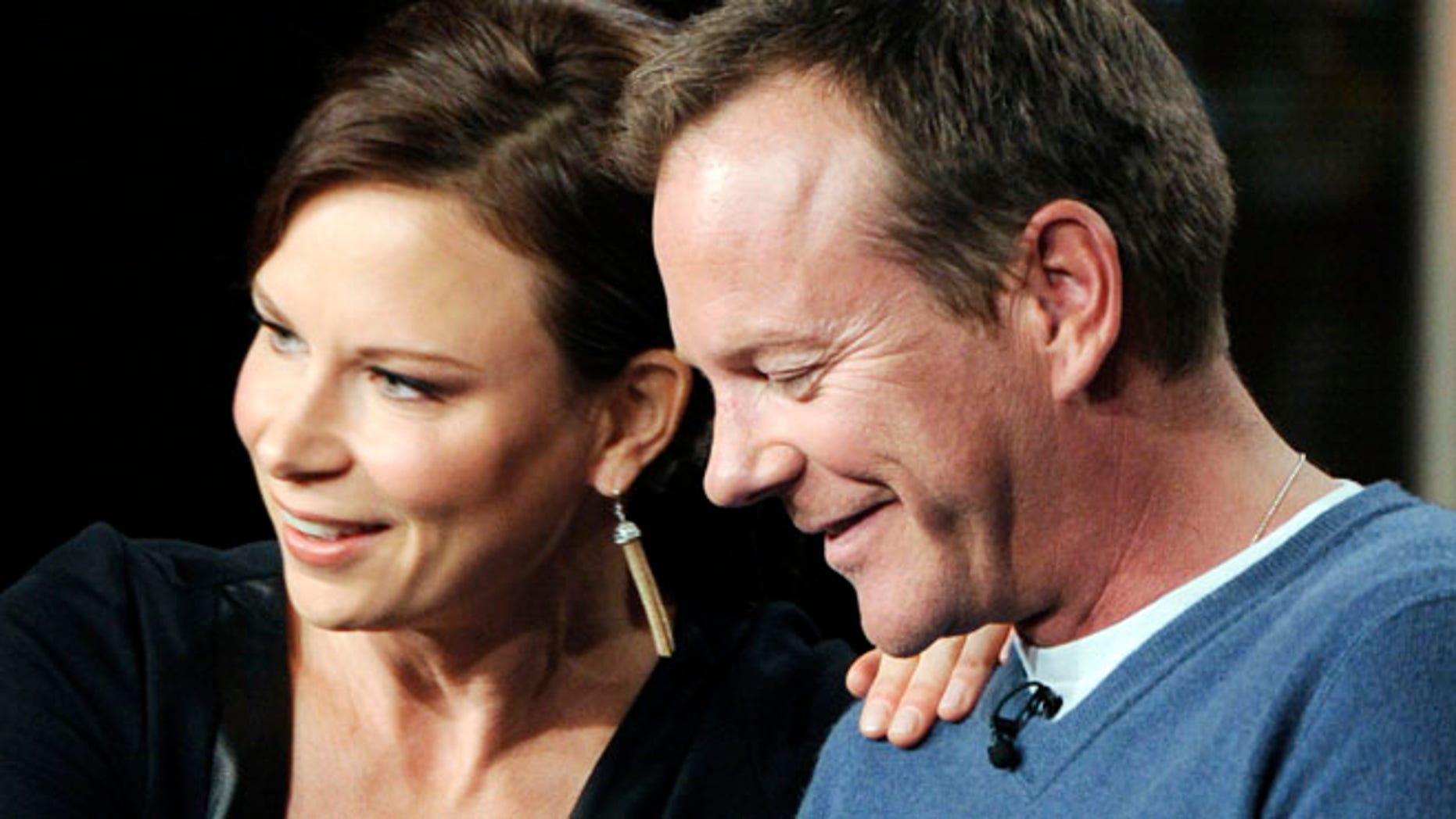 """Jan 13. 2014: Kiefer Sutherland (R), executive producer and actor, speaks on the return of """"24: Live Another Day"""" with actress Mary Lynn Rajskub during Fox Broadcasting Company's part of the Television Critics Association (TCA) Winter 2014 presentations in Pasadena, California (Reuters)"""