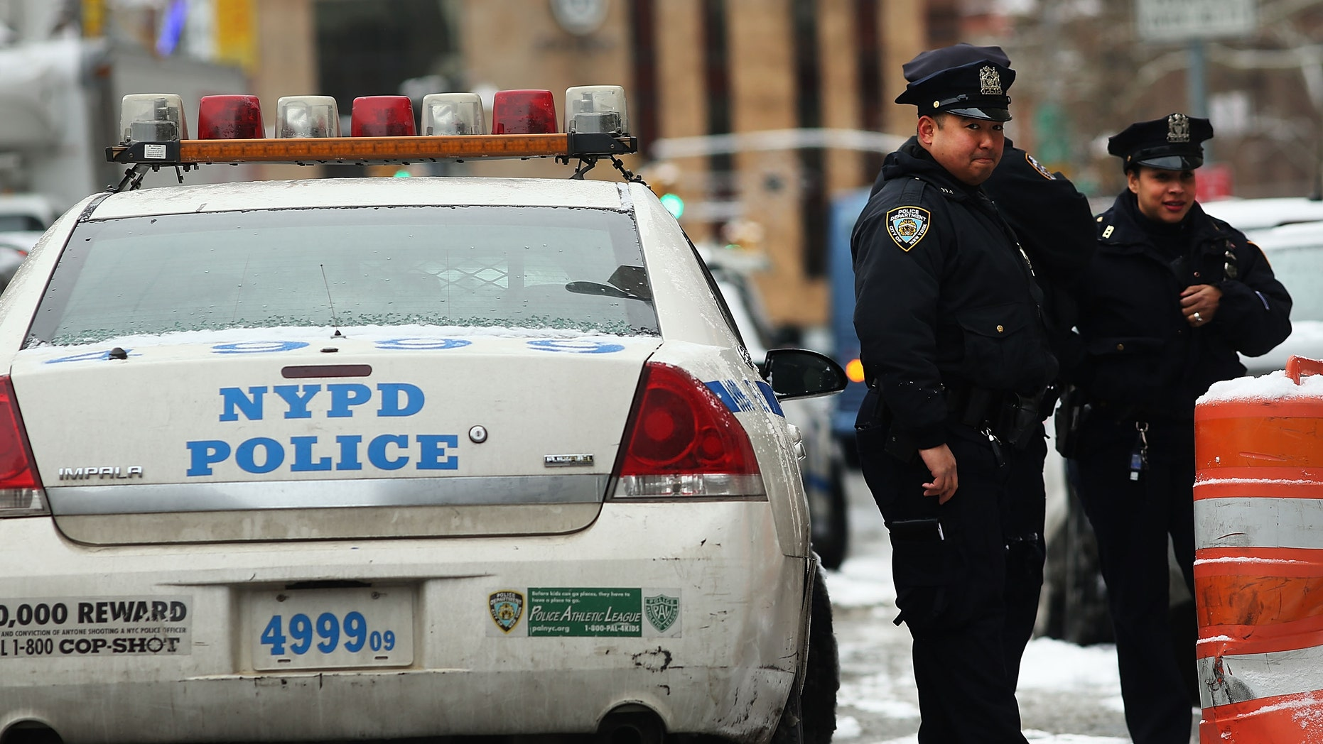 NEW YORK, NY - JANUARY 09:  Police patrol outside of a Manhattan court house for the sentencing of convicted terrorist Mustafa Kamel Mustafa on January 9, 2015 in New York City. Mustafa, a 56 year old British cleric, faces a likely life sentence after his May conviction for charges in plots to kidnap tourists in Yemen in 1998 and to construct a terrorist training camp in Oregon. (Photo by Spencer Platt/Getty Images).
