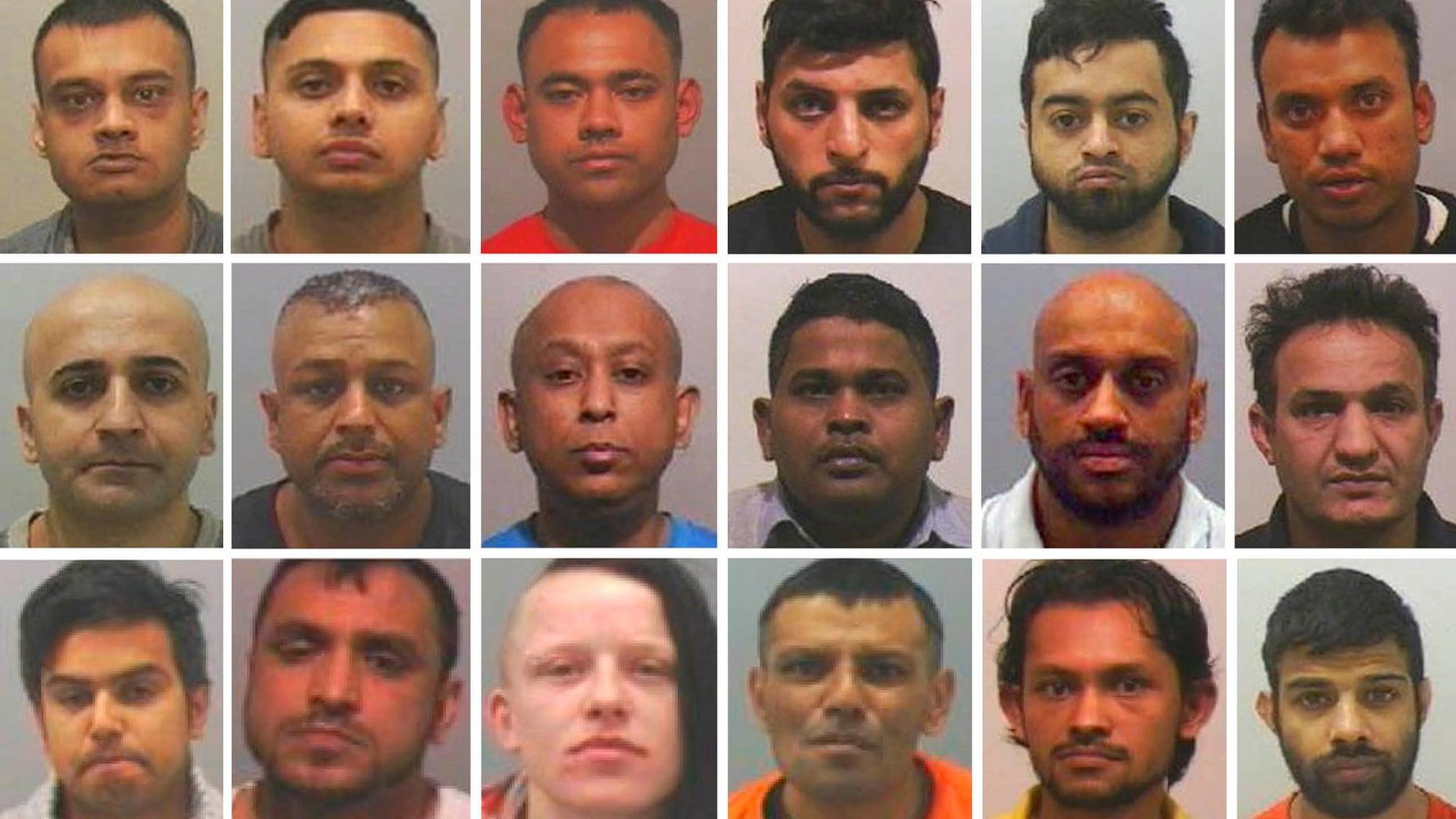 First row: Nashir Uddin, Taherul Alam, Mohammed Hassan Ali, Mohammed Azram, Monjur Choudhury, Saiful Islam. Second row: Abdulhamid Minoyee, Jahanger Zaman, Mohibur Rahman, Prabhat Nelli, Nadeem Aslam, Eisa Mousavi. Third row: Habibur Rahim, Badrul Hussain, Carolann Gallon, Abdul Sabe, Redwan Siddquee, Yassar Hussain were arrested in the operation.