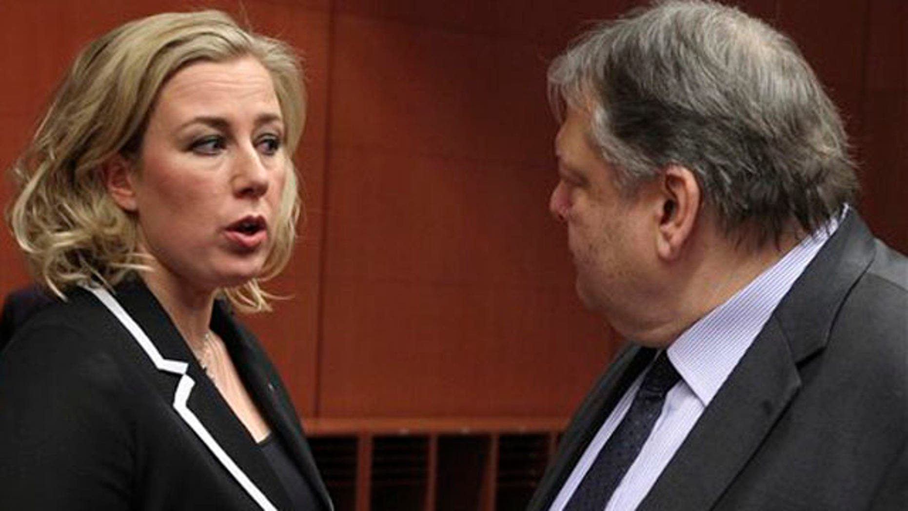 Feb. 9, 2012: Finnish Finance Minister Jutta Urpilainen, left, talks with Greek Finance Minister Evangelos Venizelos, at the European Council building in Brussels. There are fundamental doubts among some of the countries that use the euro over whether a second massive bailout for Greece will actually work, a European official said.