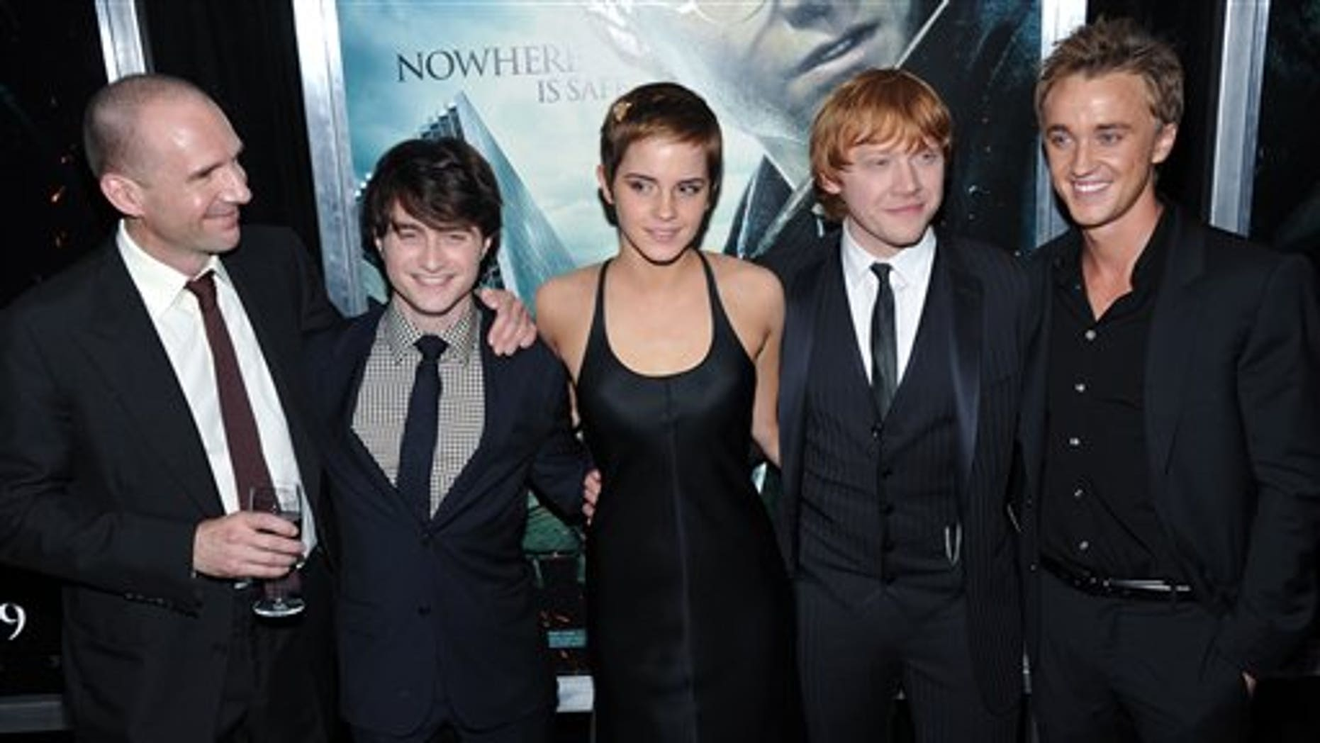Actors, from left, Ralph Fiennes, Daniel Radcliffe, Emma Watson, Rupert Grint and Tom Felton attend the premiere of 'Harry Potter and the Deathly Hallows Part 1' at Alice Tully Hall on Monday, Nov. 15, 2010 in New York. (AP)