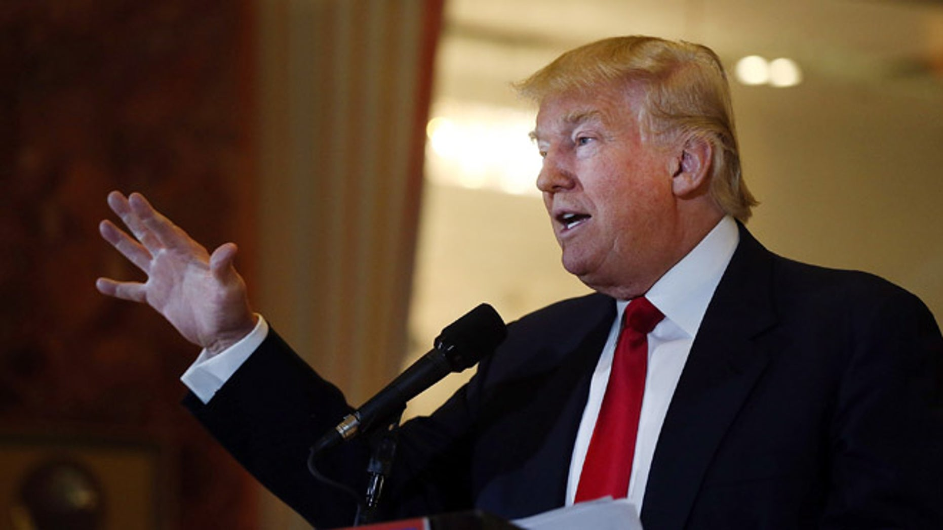 NEW YORK, NY - MAY 31:  Republican presidential candidate Donald Trump speaks at a news conference at Trump Tower where he addressed issues about the money he pledged to donate to veterans  groups following a skipped a debate in January before the Iowa caucuses on May 31, 2016 in New York City. Trump had previously said he had raised $6 million at the nationally broadcast fund-raiser he attended instead of the debate and that he would donate it all to veterans groups.  (Photo by Spencer Platt/Getty Images)