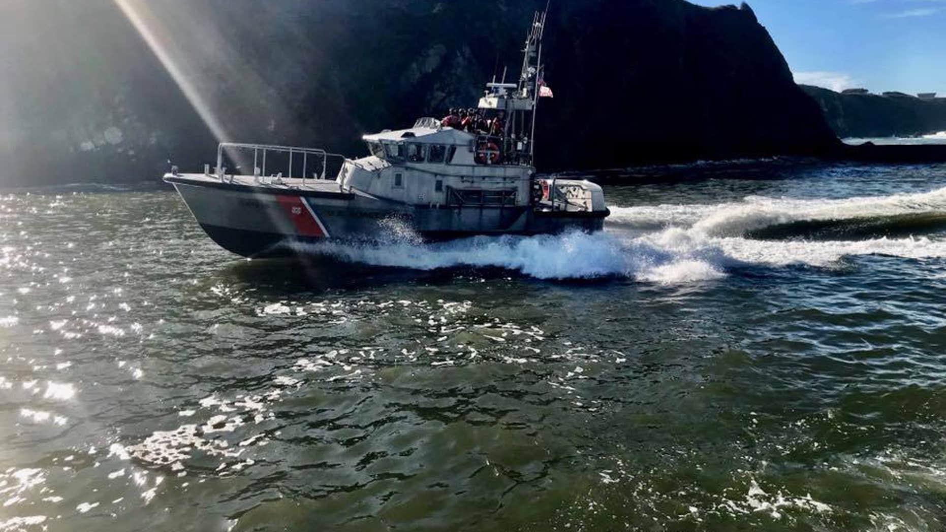A crew from the U.S. Coast Guard Station Noyo River which operates approximately 100 miles of Northern California and 50 miles offshore.