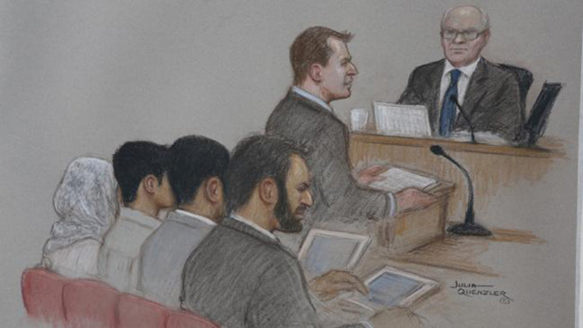 An artist's sketch of the boy being sentenced.