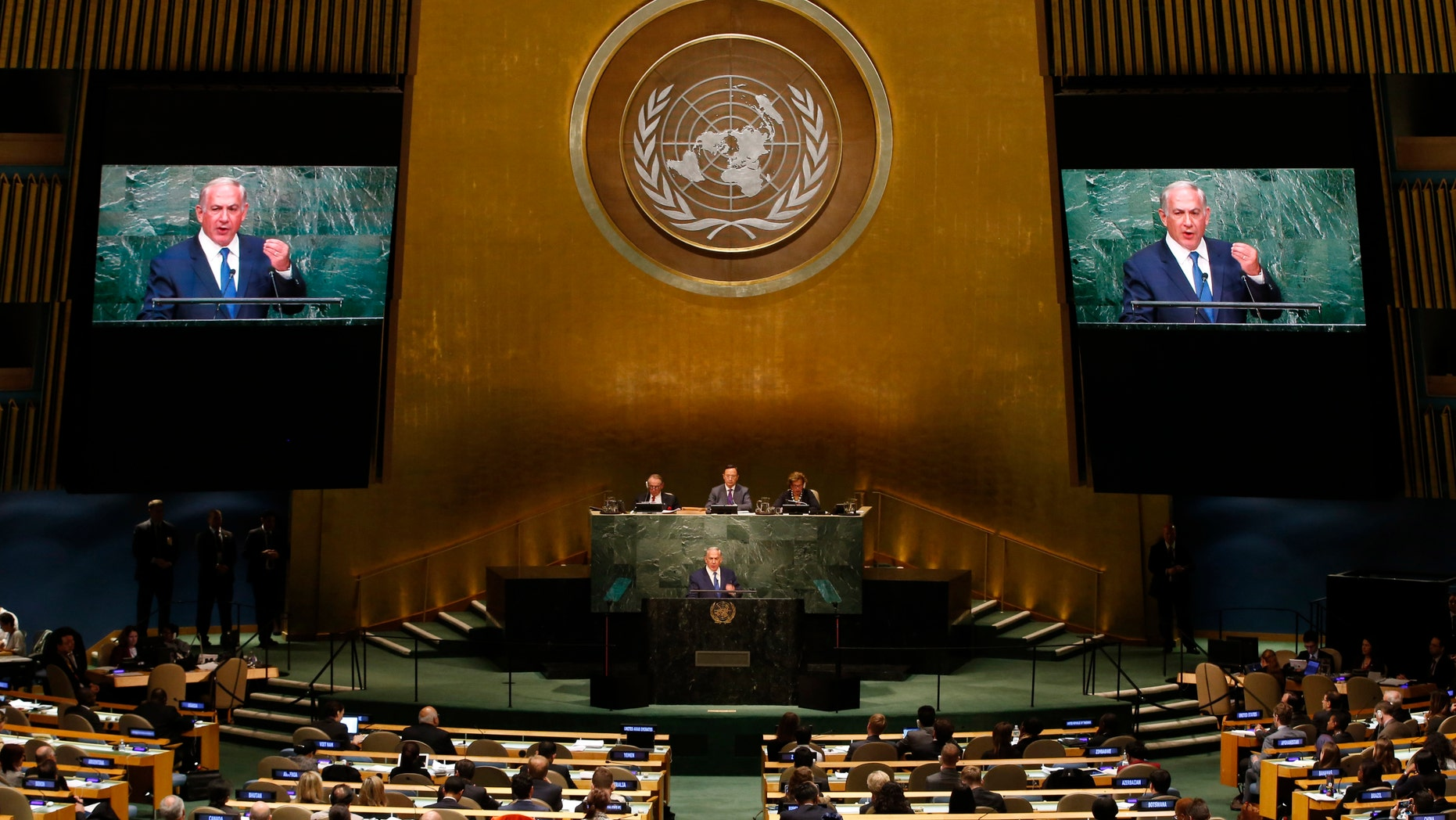File photo - Israeli Prime Minister Benjamin Netanyahu addresses attendees during the 70th session of the United Nations General Assembly at the U.N. Headquarters in New York, Oct. 1, 2015. (REUTERS/Mike Segar)