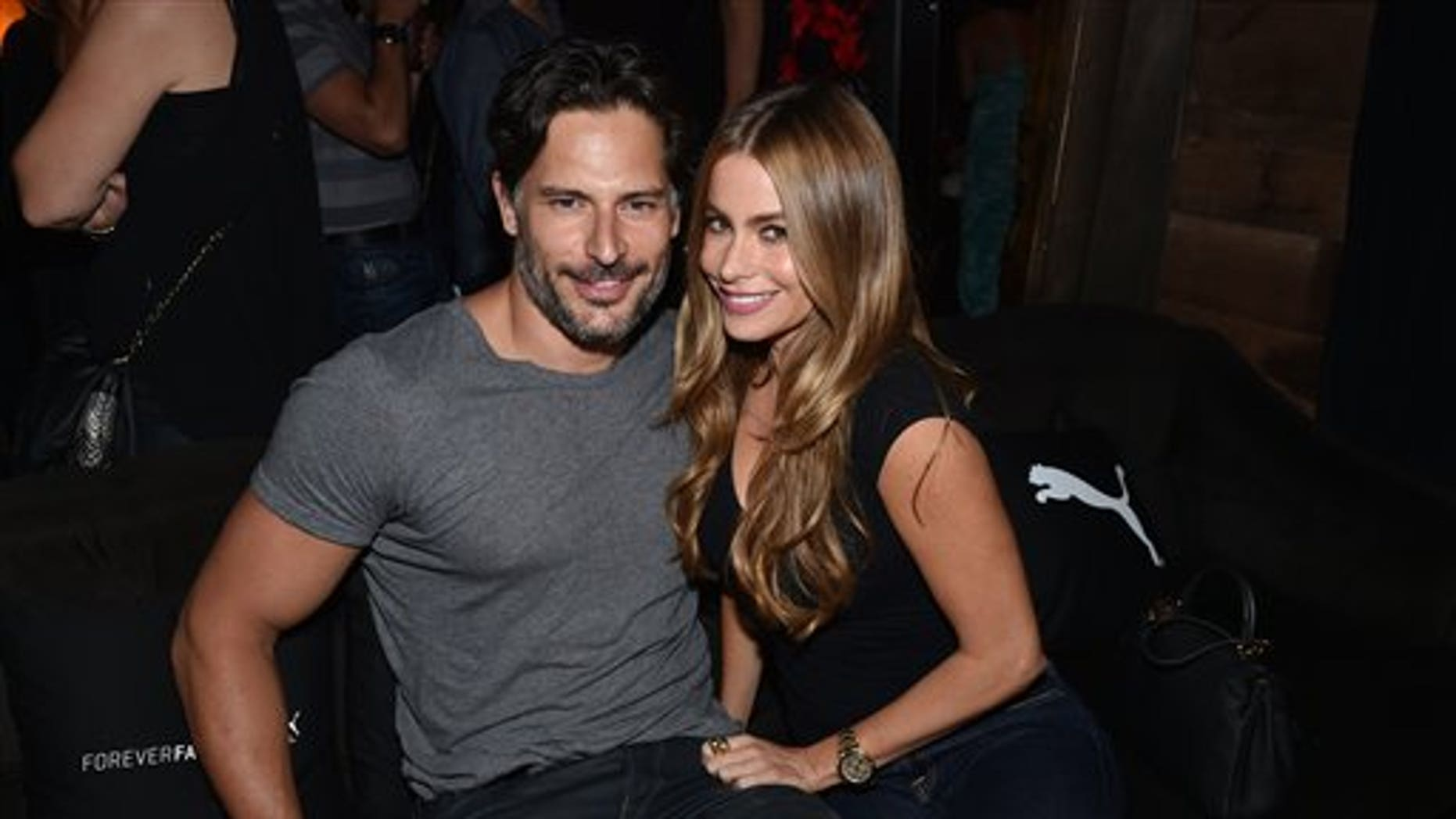 IMAGE DISTRIBUTED FOR PUMA - EXCLUSIVE - Joe Manganiello, left, and Sofia Vergara attend a private event at Hyde Lounge during the Justin Timberlake concert hosted by PUMA celebrating the brand's new Forever Faster campaign on Tuesday, Aug. 12, 2014, in Los Angeles. (Photo by John Shearer/Invision for PUMA/AP Images)