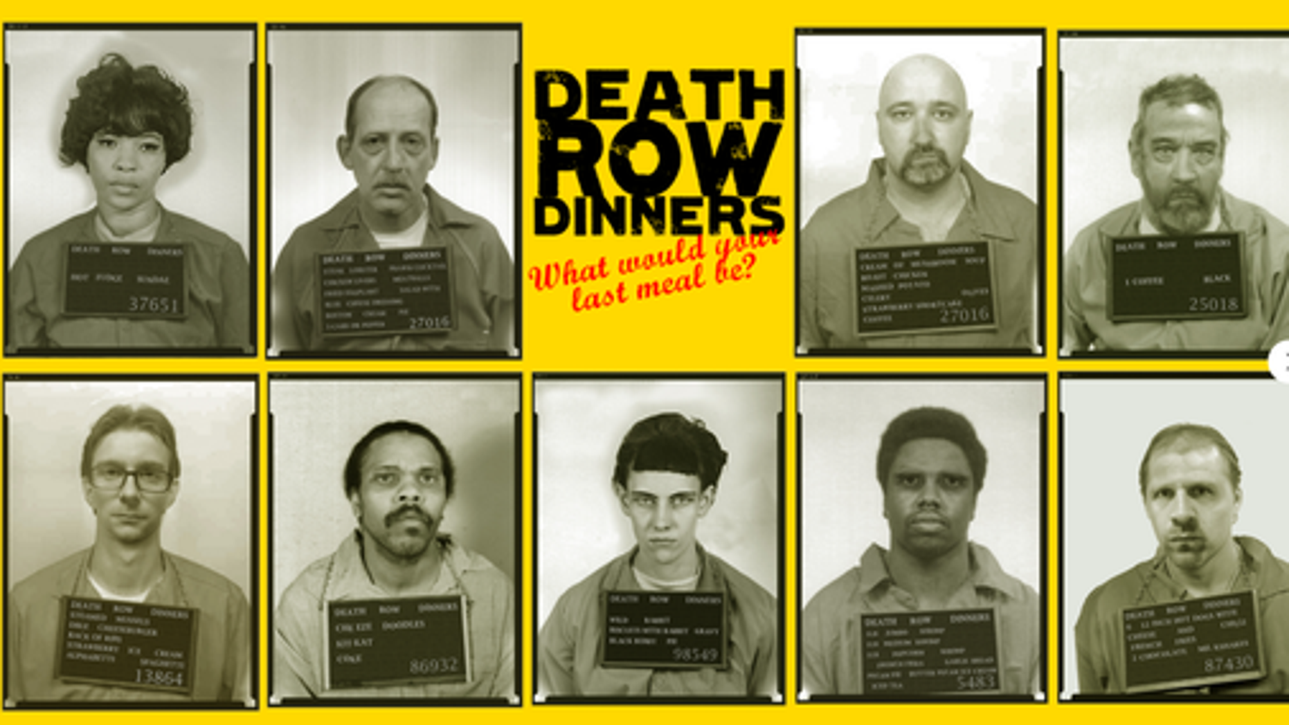 Mugshots were used to promote a last meal pop-up restaurant concept in Britain.