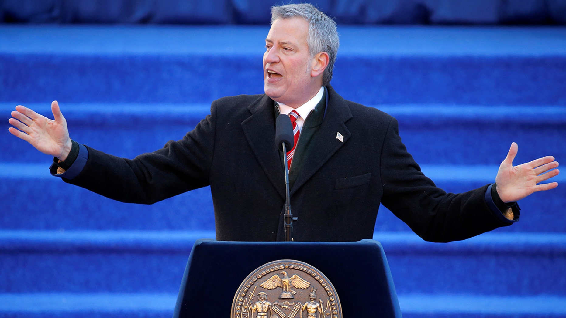 New York City Mayor Bill de Blasio delivering a speech.